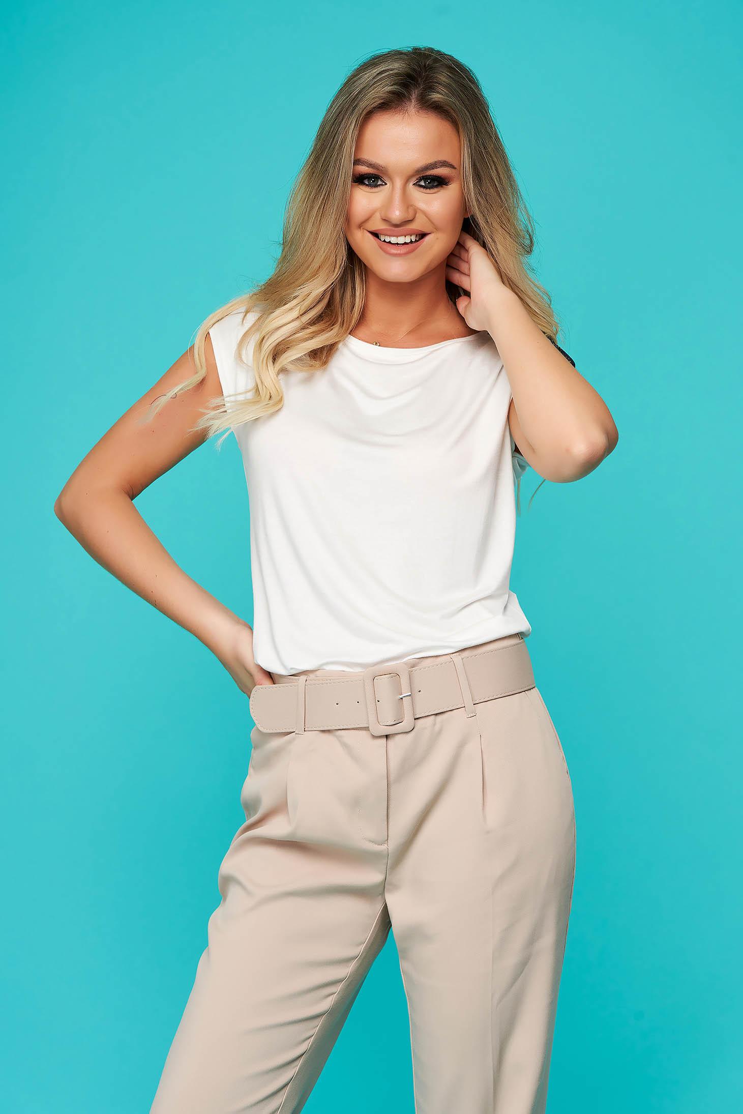 White women`s blouse casual flared short sleeves neckline