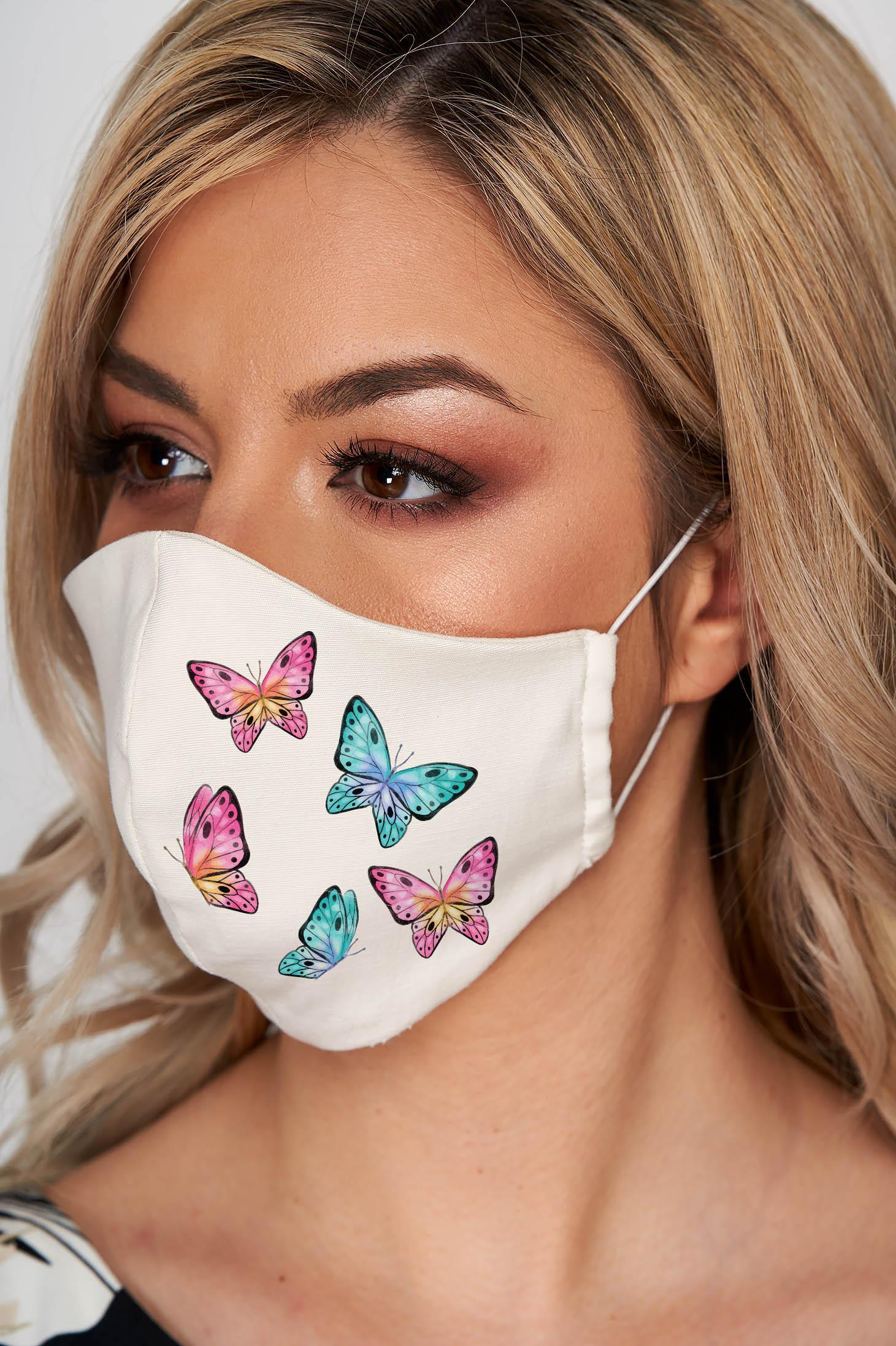 Masca textila pentru femei StarShinerS alba din stofa subtire cu imprimeu custom made