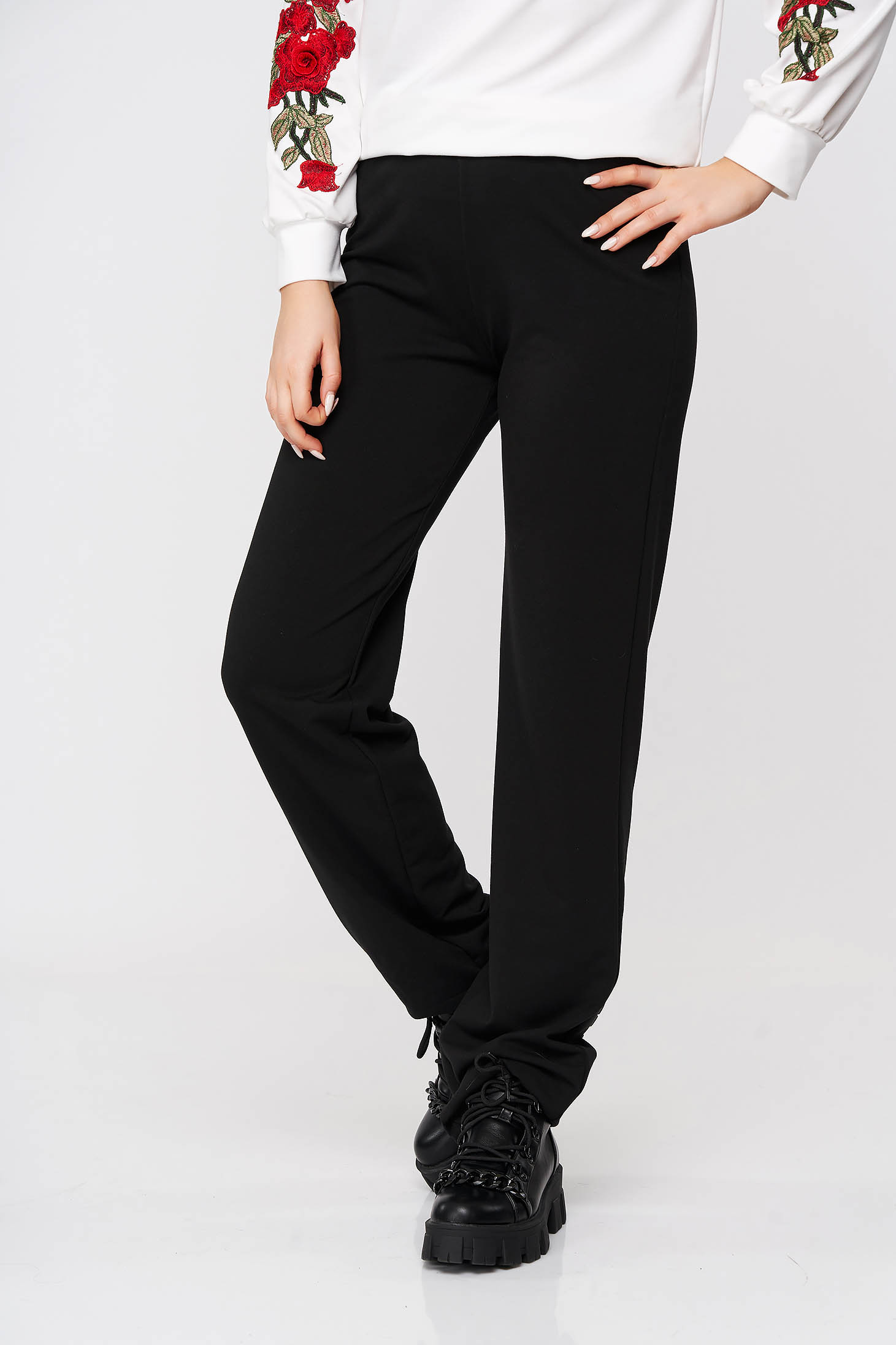 StarShinerS black trousers casual cotton flared with elastic waist