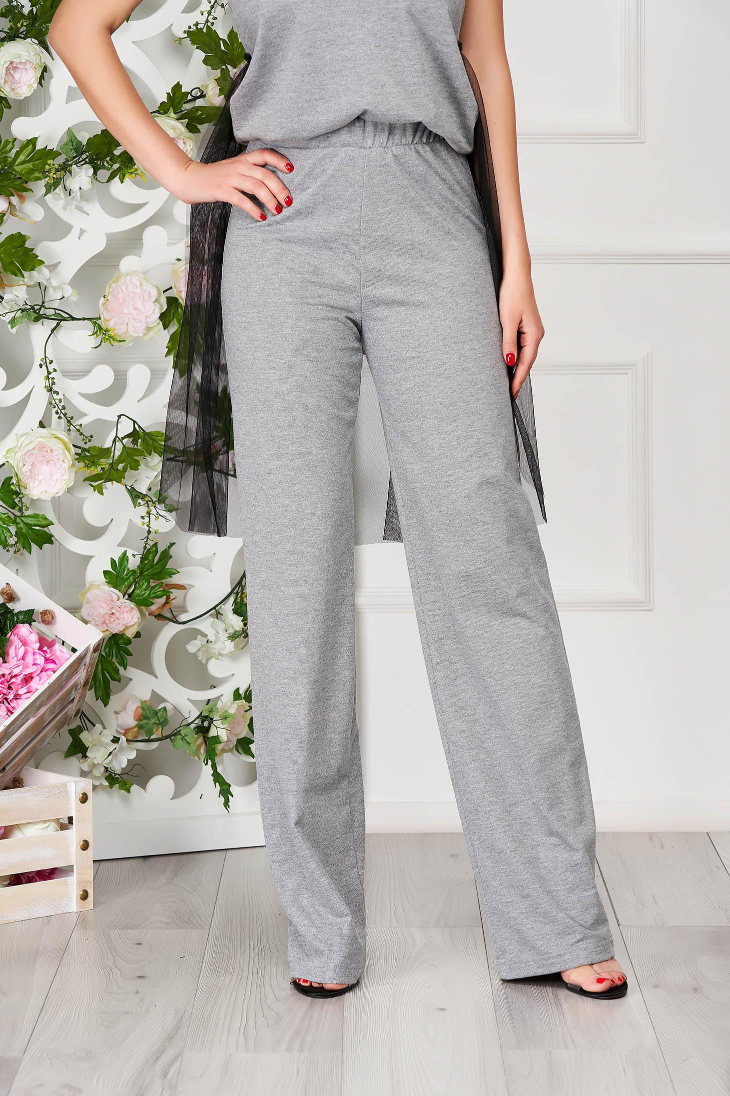 Pantaloni training StarShinerS gri casual din bumbac evazati cu elastic in talie