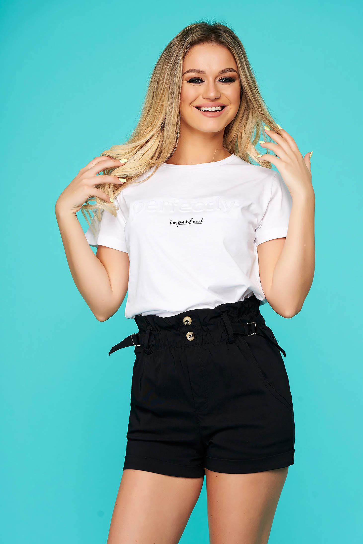 White t-shirt casual cotton flared neckline