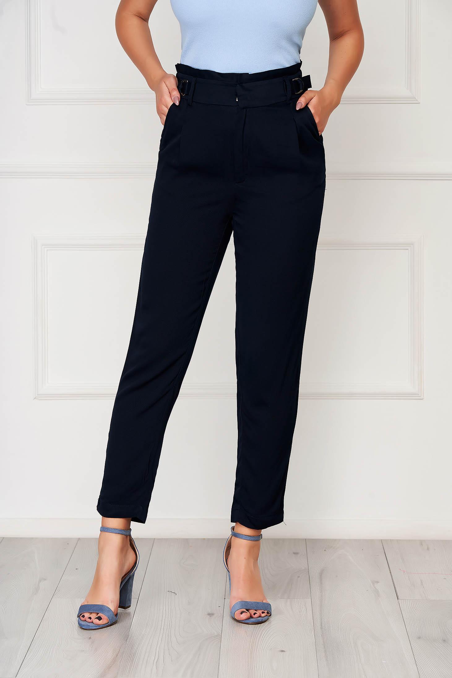 Pantaloni Top Secret albastru-inchis office cu talie inalta cu elastic in talie din material fin la atingere