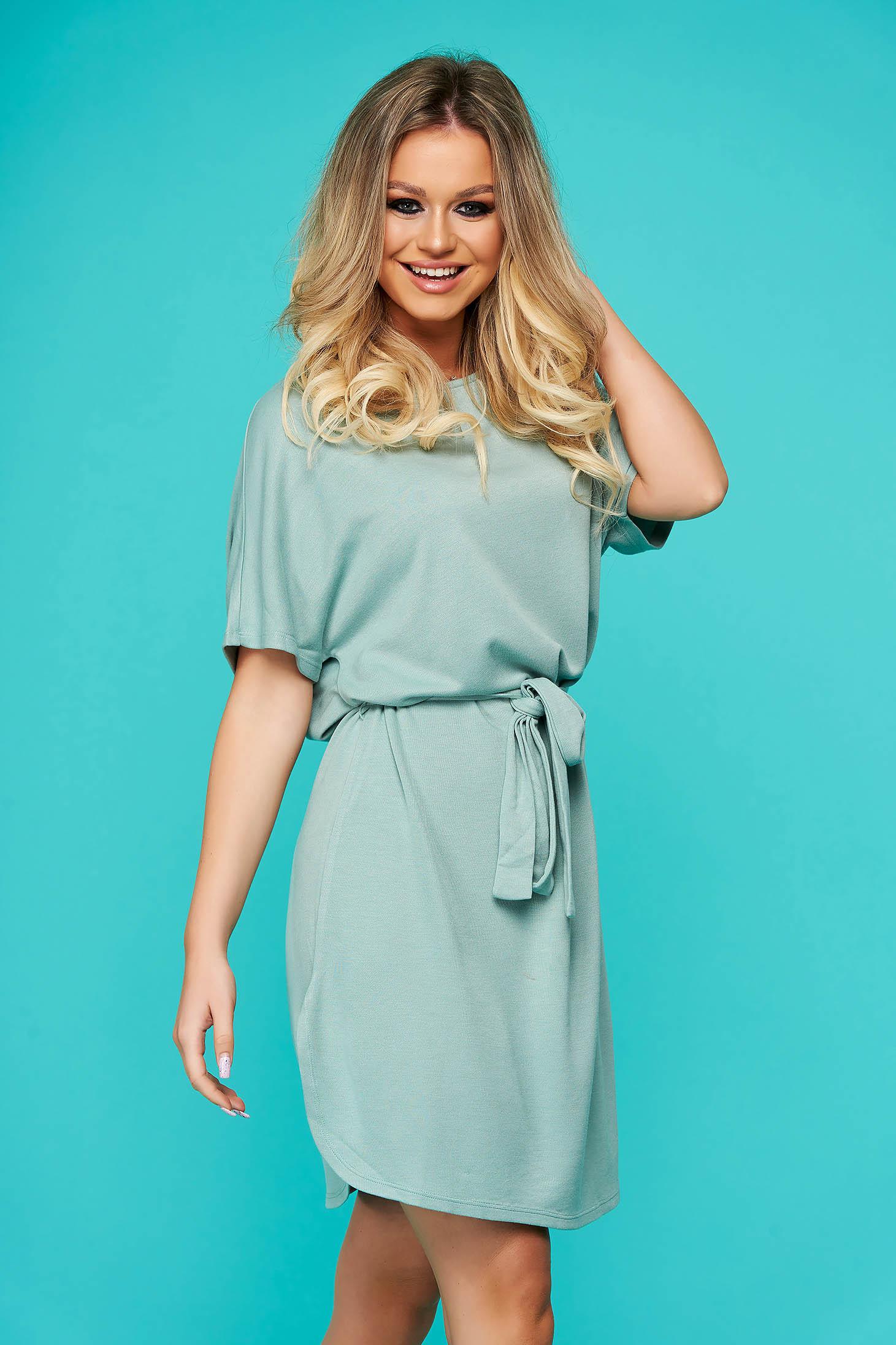 Blue dress casual short cut thin fabric short sleeves