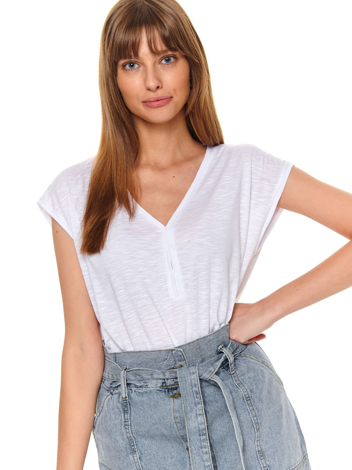 White women`s blouse casual flared short sleeves with v-neckline