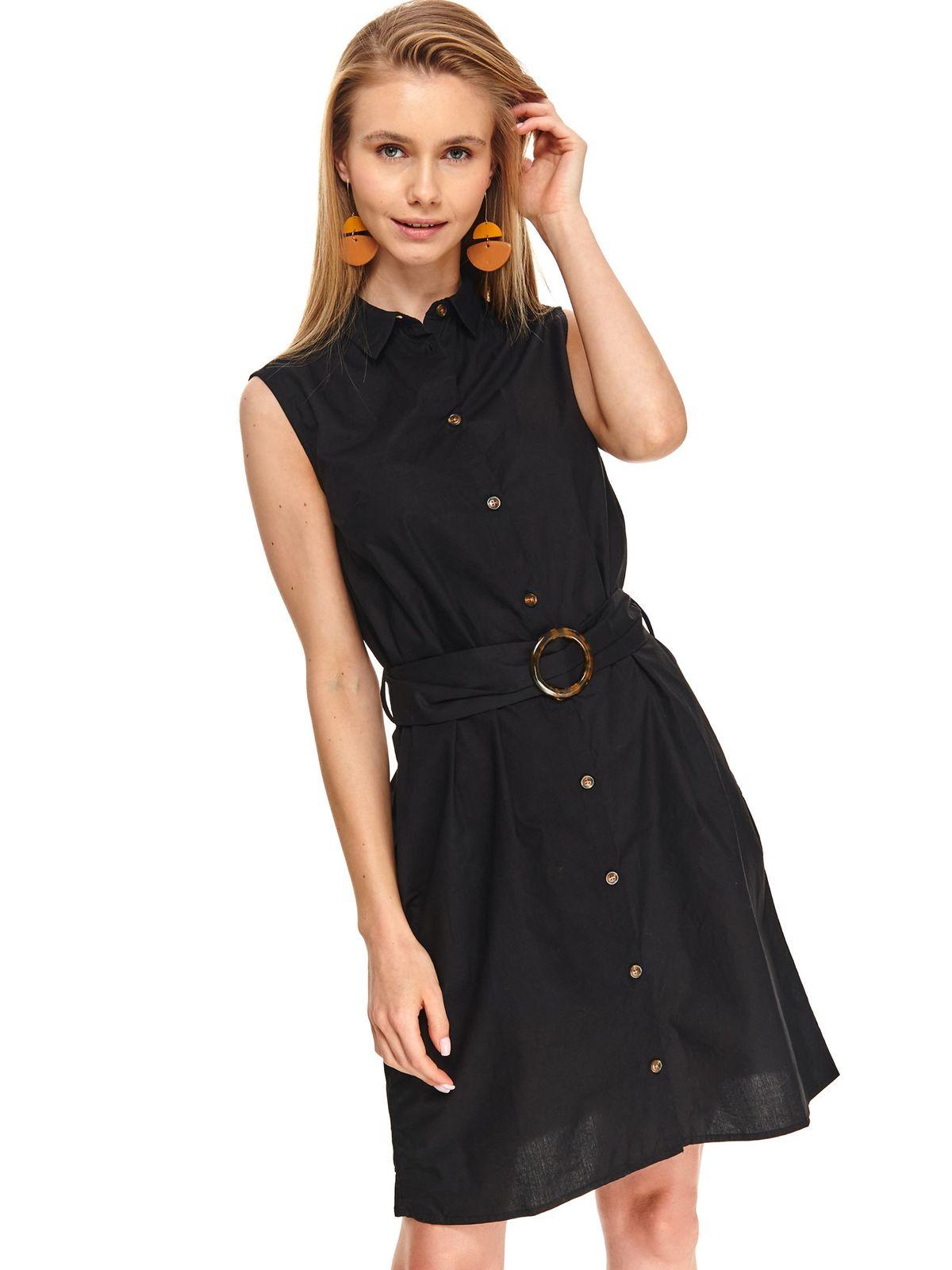 Black dress daily short cut cloche thin fabric sleeveless