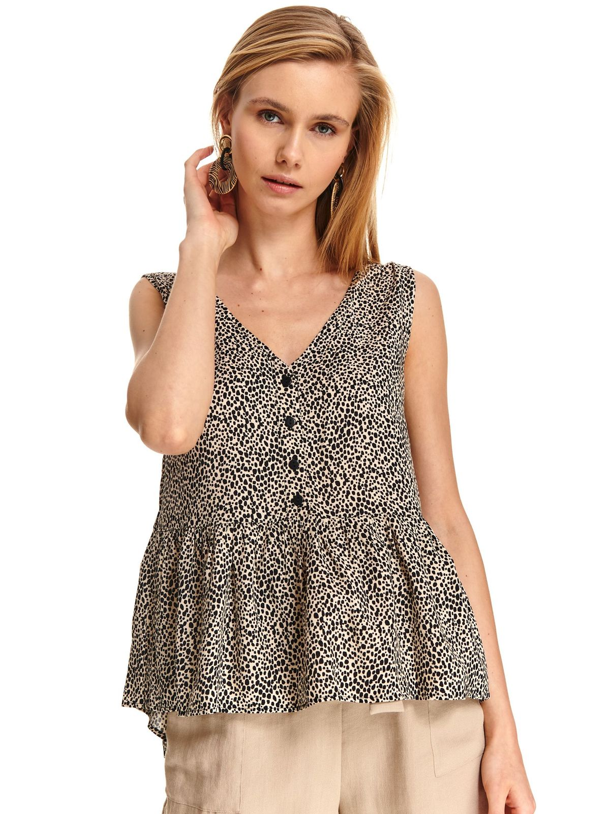 Black women`s blouse casual flared from veil fabric asymmetrical sleeveless