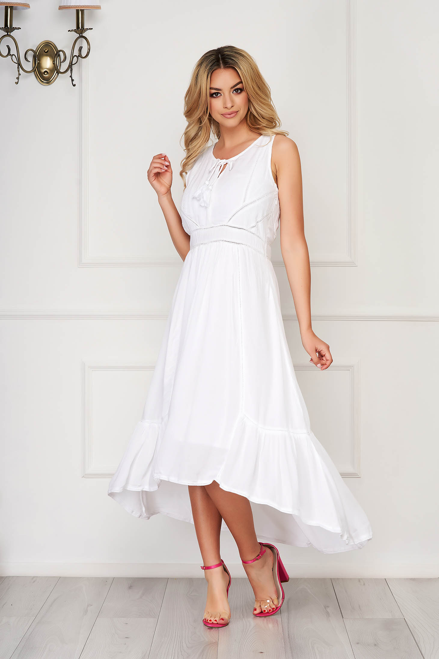White dress midi asymmetrical cloche sleeveless thin fabric