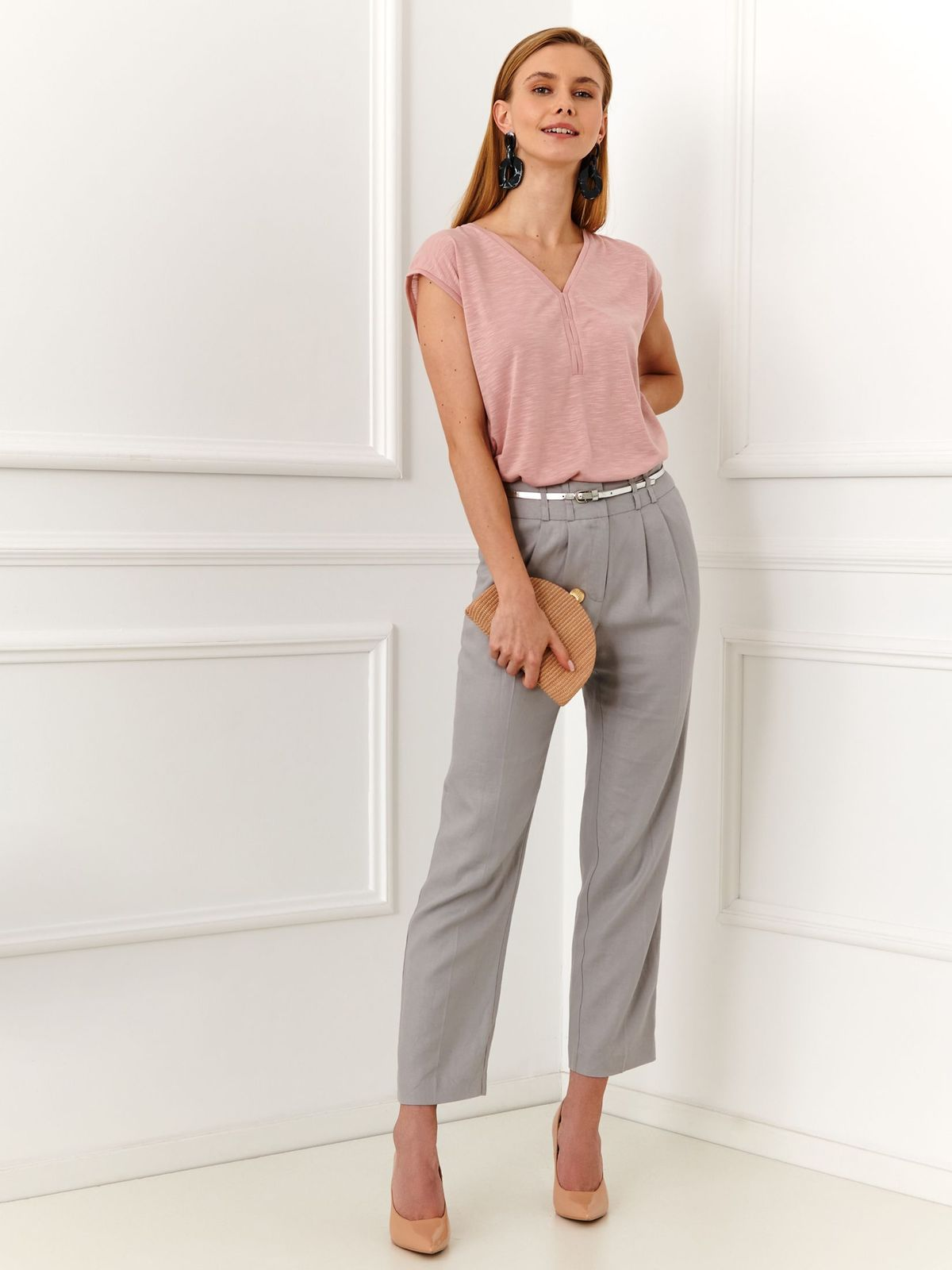 Pantaloni Top Secret gri-deschis