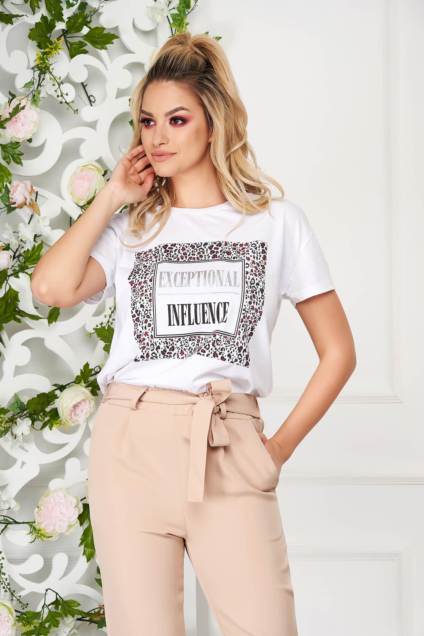 Tricou SunShine alb casual din bumbac usor elastic cu print cu maneca scurta