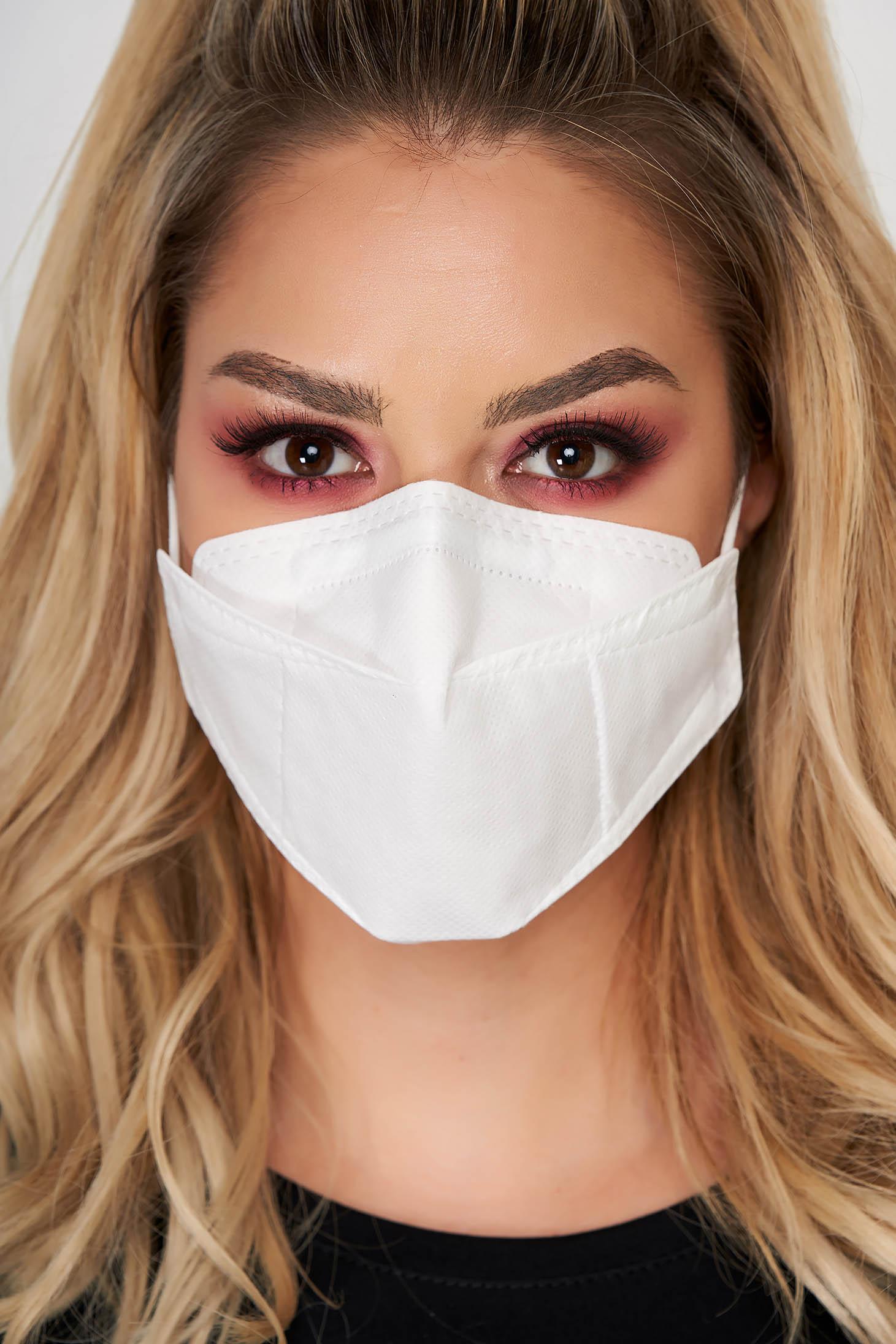 Set 5 bucati masca de protectie alba KN95 cu filtru FFP2 reutilizabila cu certificat CE