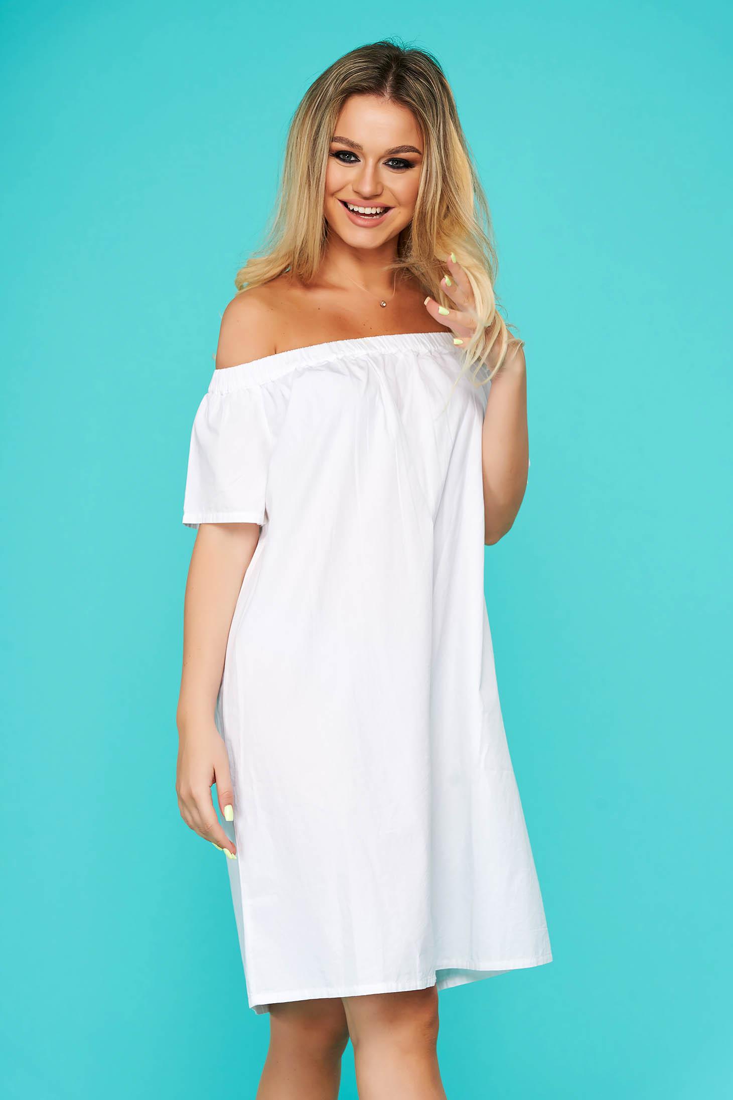 Fehér ruha rövid hétköznapi pamutból készült
