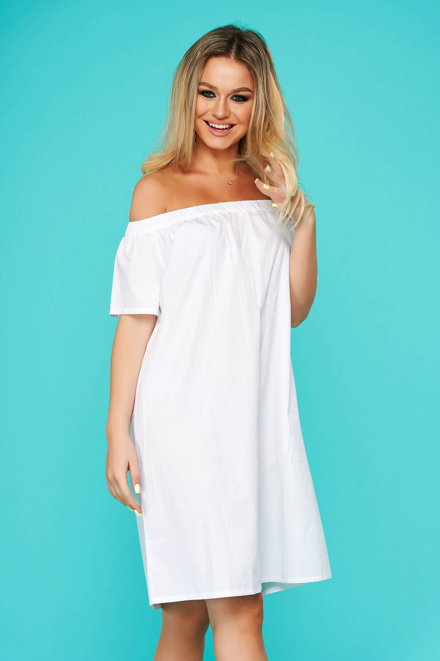 White dress short cut daily cotton naked shoulders