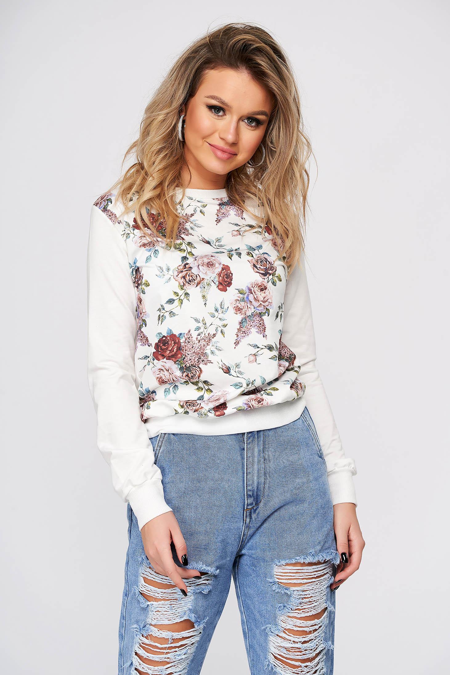 Bluza dama Top Secret alba casual cu croi larg cu maneci lungi si imprimeu floral