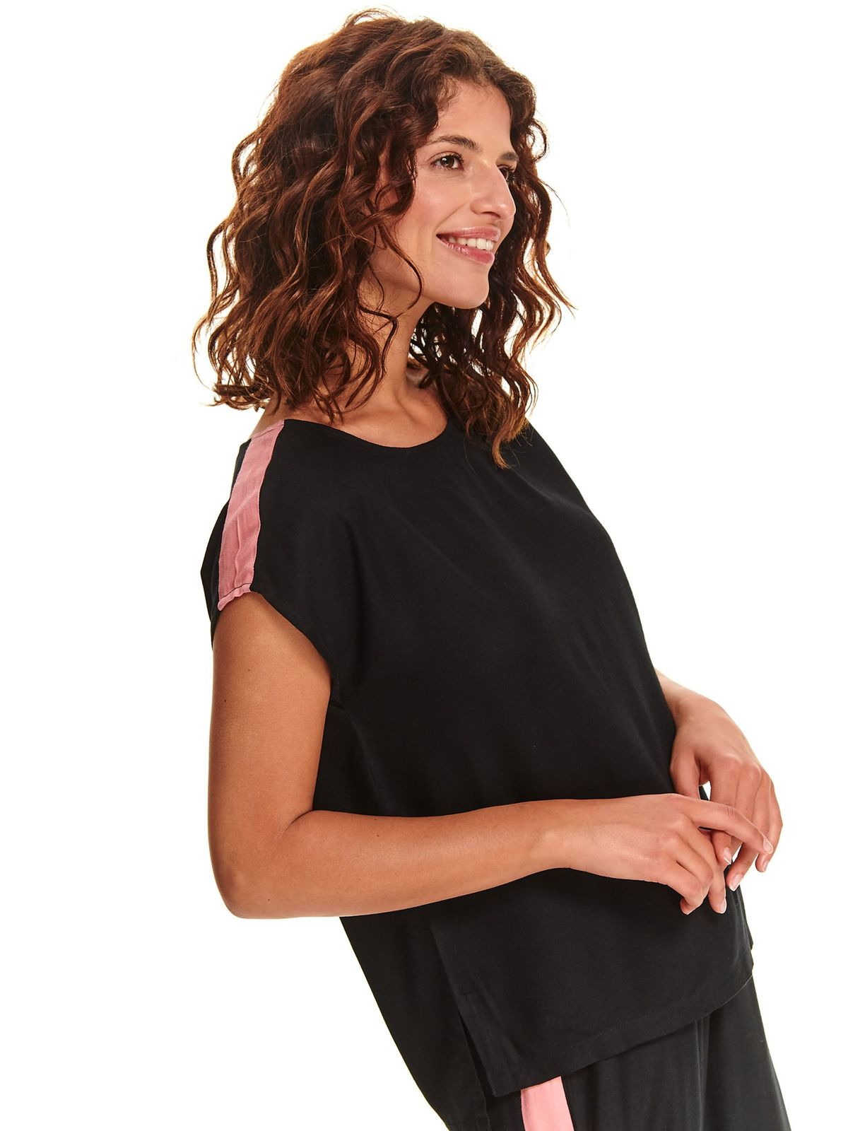 Black women`s blouse short sleeve casual with easy cut airy fabric