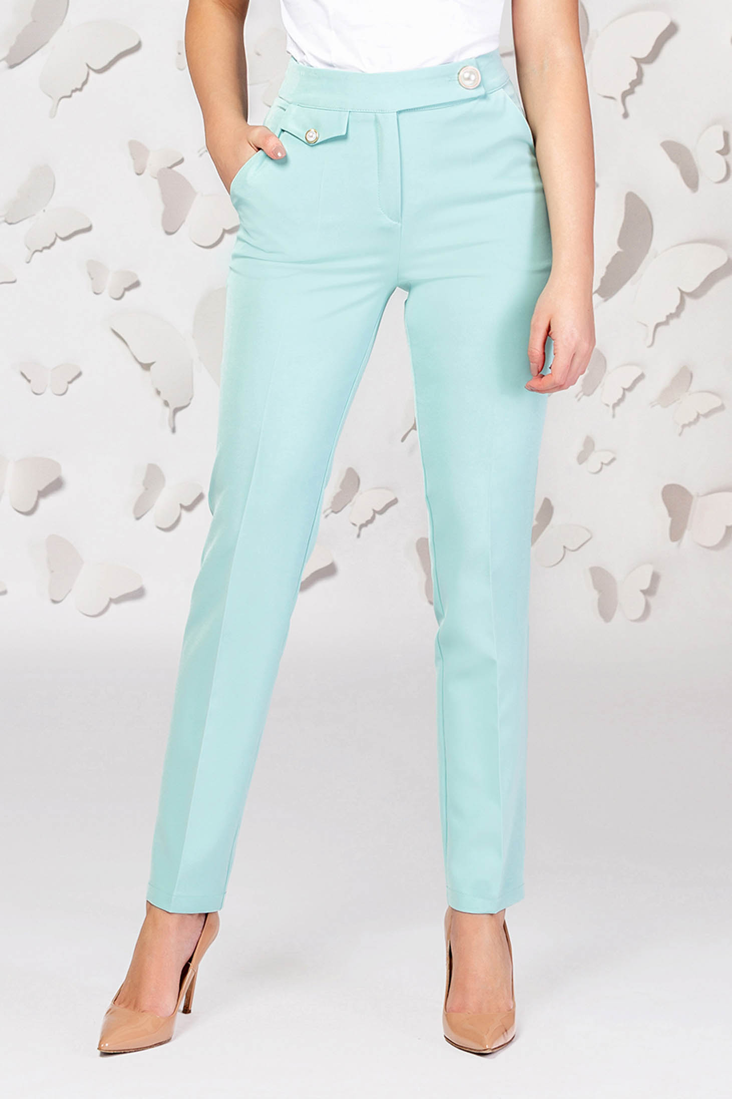 Turquoise conical trousers slightly elastic fabric
