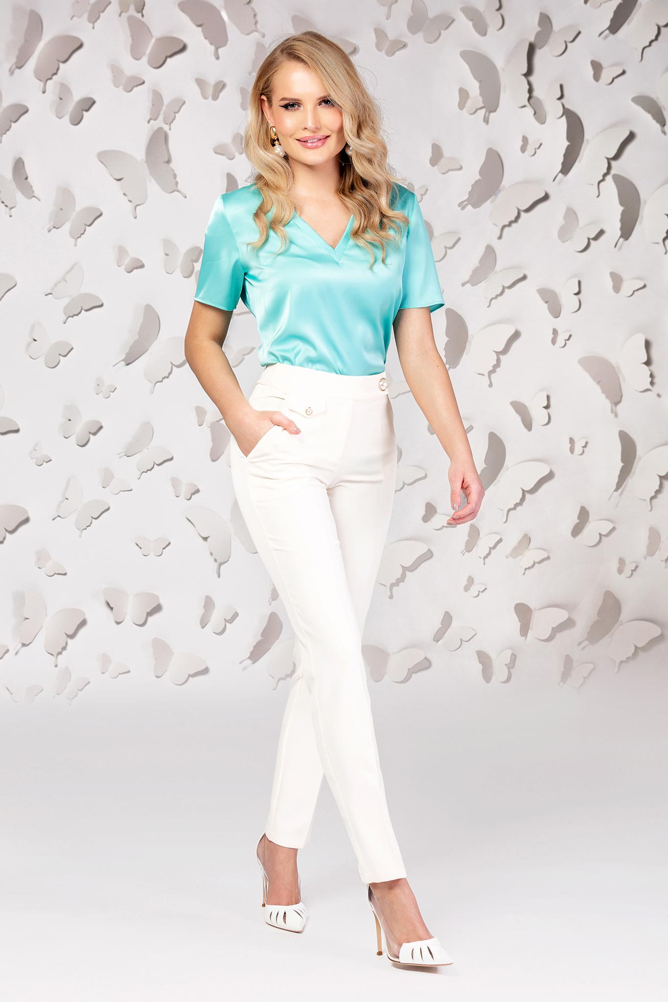 Pantaloni PrettyGirl albi conici din stofa subtire usor elastica