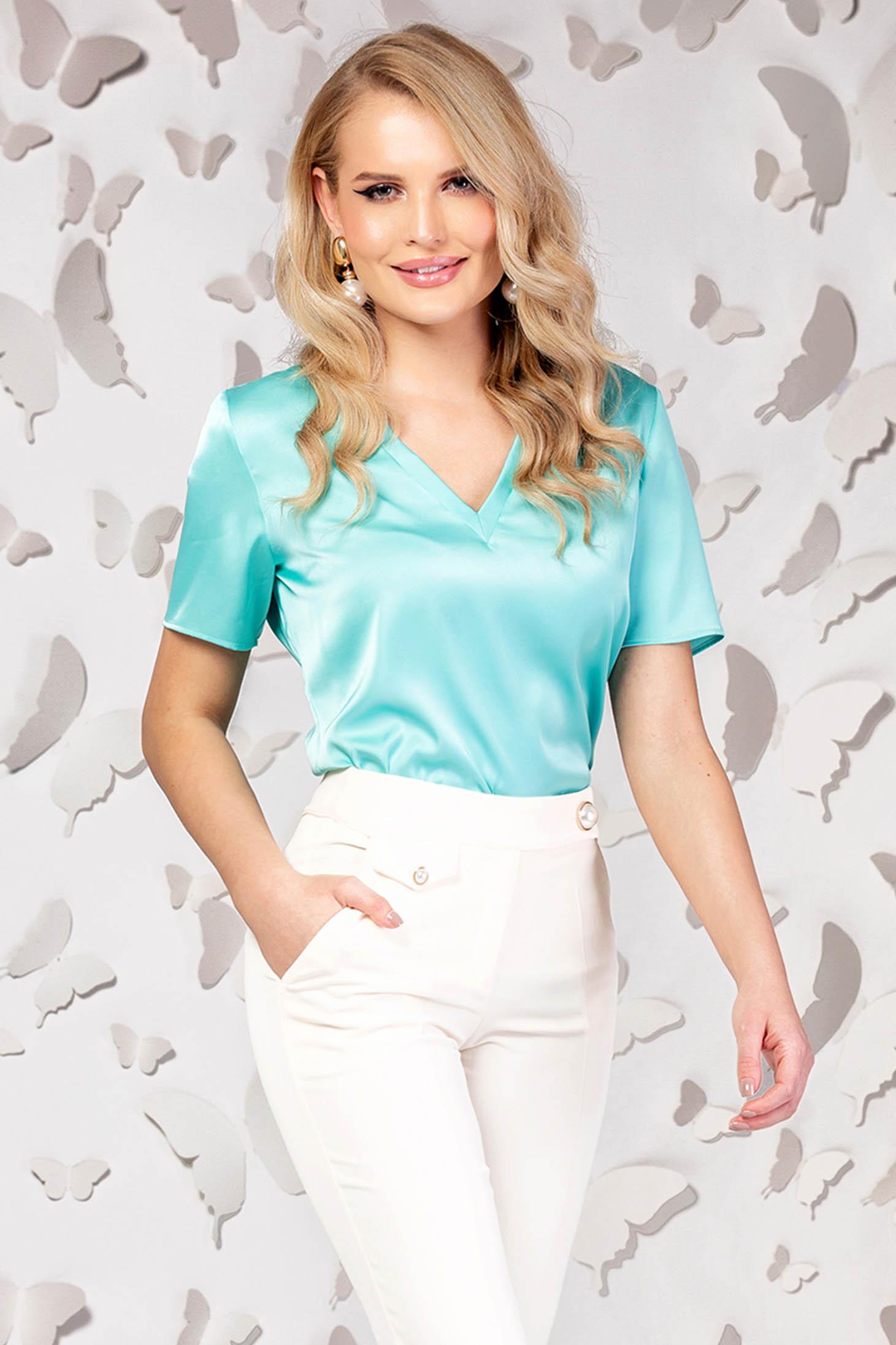 Office short cut flared short sleeve turquoise women`s blouse