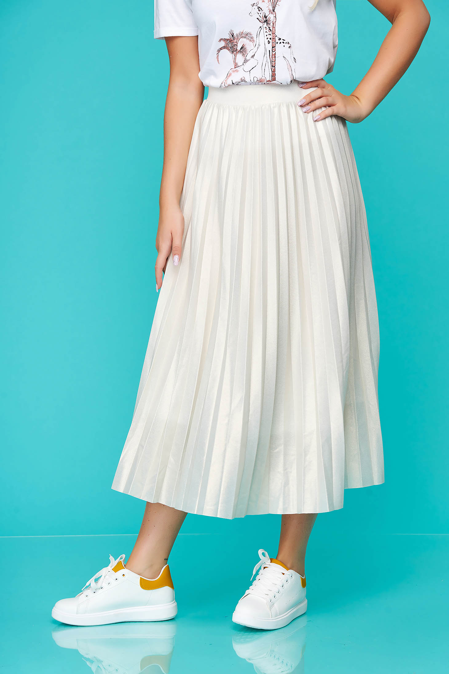 Peach skirt elegant midi folded up cloche high waisted