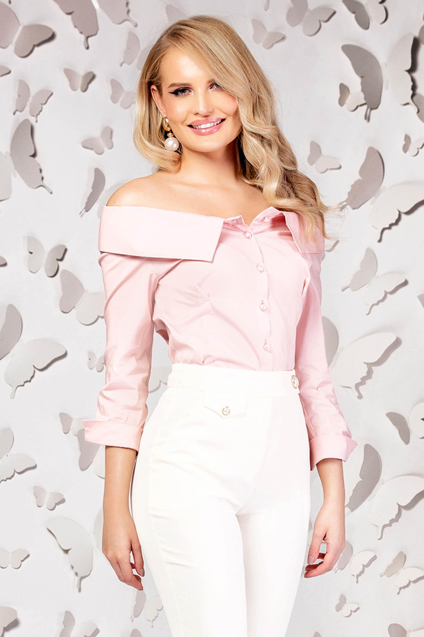 Camasa dama PrettyGirl roz prafuit eleganta mulata din bumbac cu umeri goi