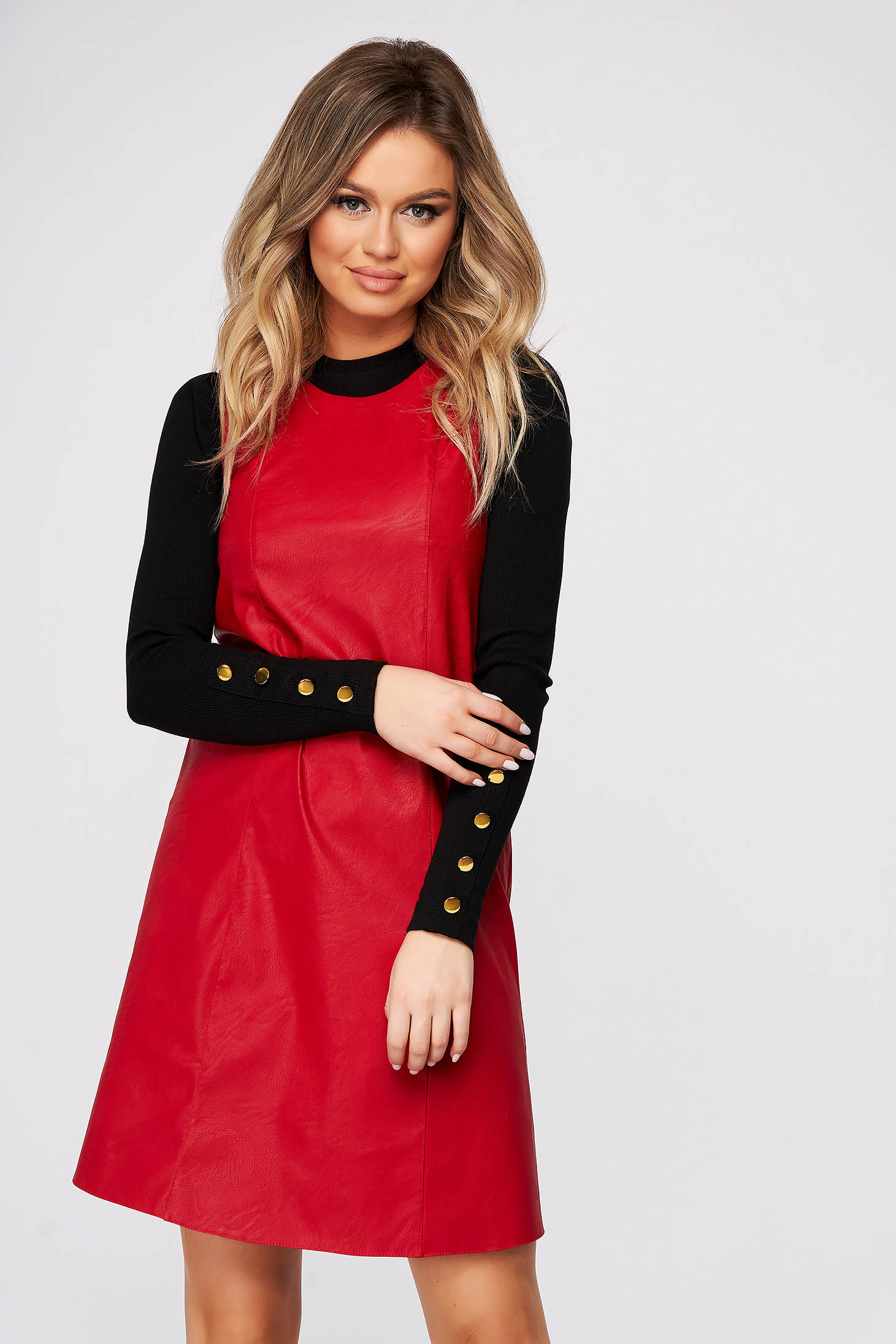 StarShinerS red dress daily short cut from ecological leather sleeveless