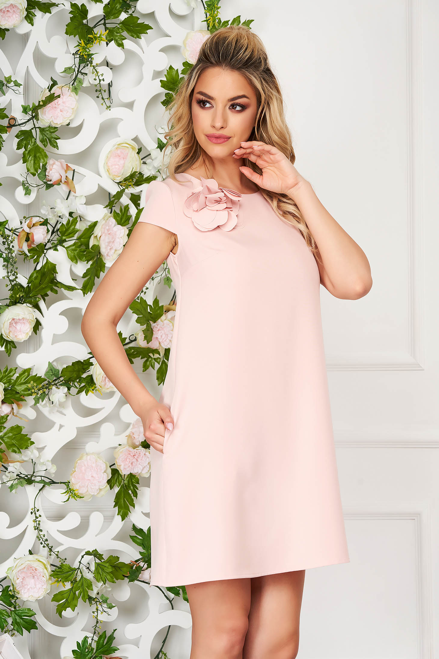 StarShinerS peach short cut daily flared dress cloth from elastic fabric with pockets