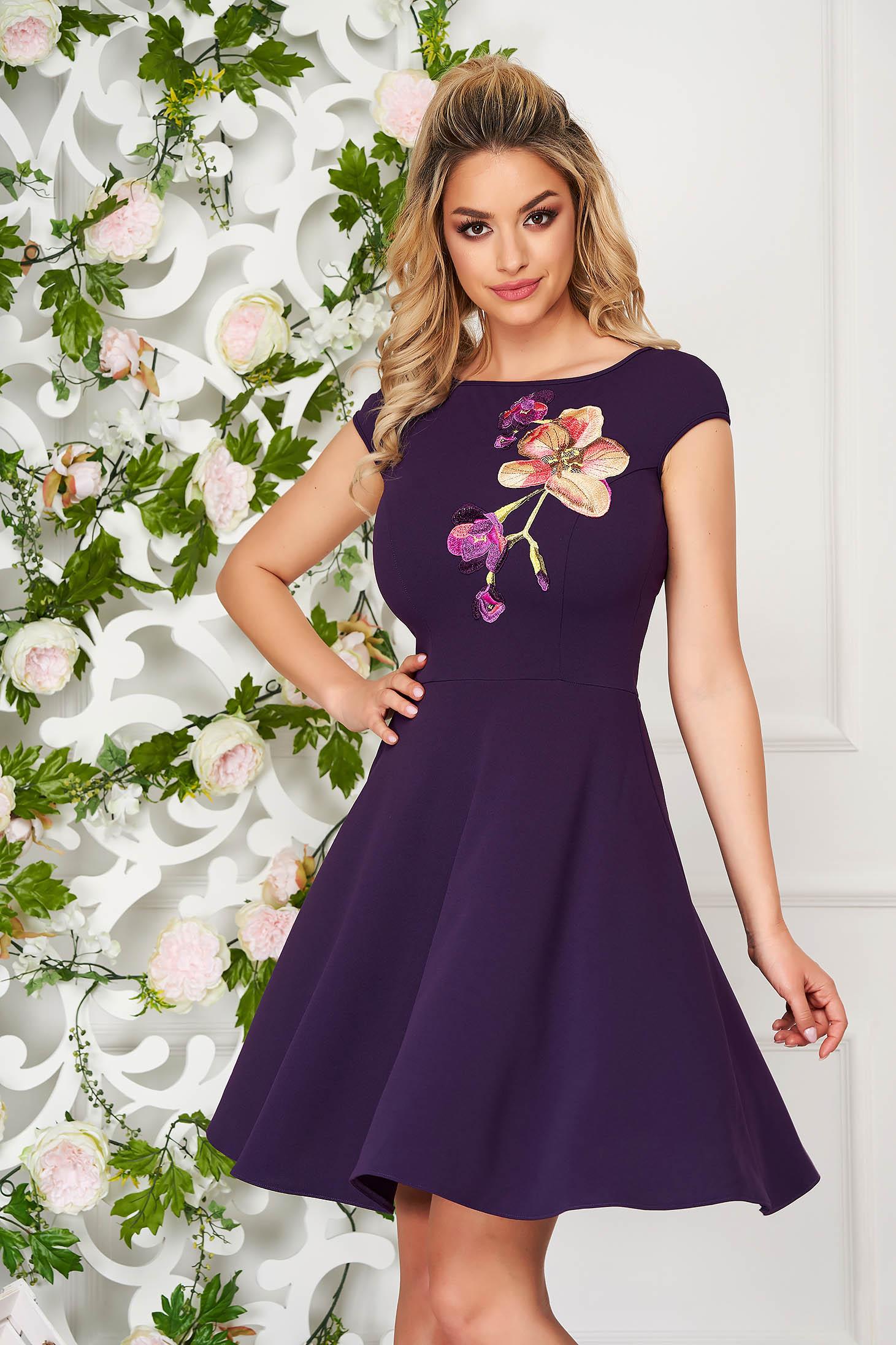 StarShinerS purple dress elegant short cut cloche short sleeves