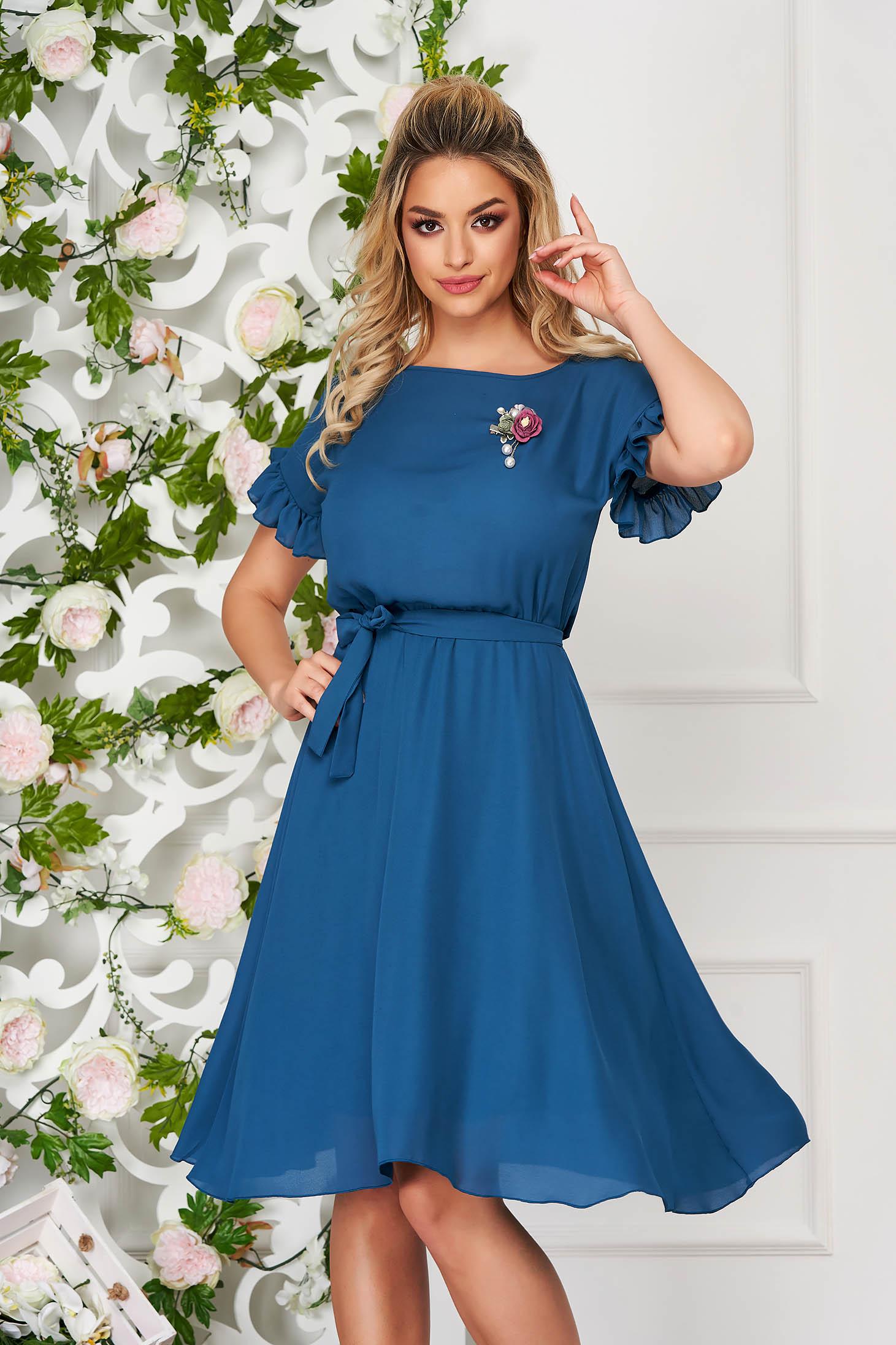 Dress StarShinerS turquoise elegant midi daily cloche thin fabric with ruffled sleeves