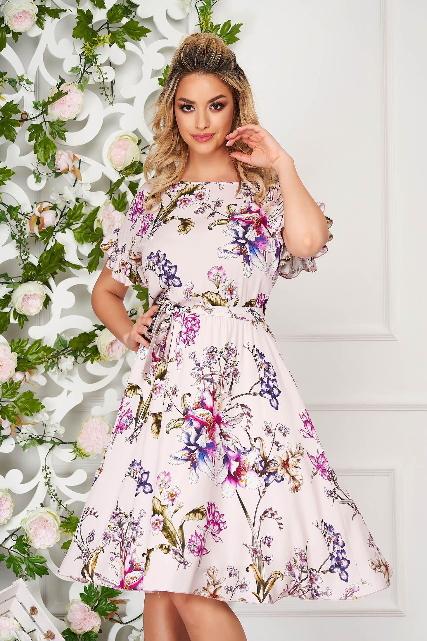 StarShinerS purple dress elegant daily midi cloche poplin, thin cotton with ruffled sleeves