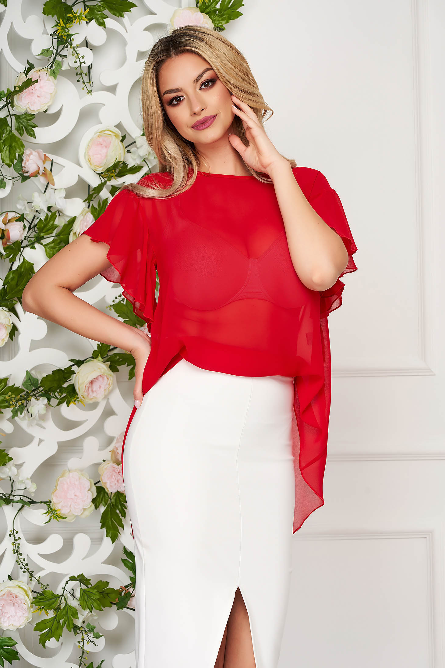 Women`s blouse StarShinerS red elegant from veil fabric flared short sleeve with ruffle details