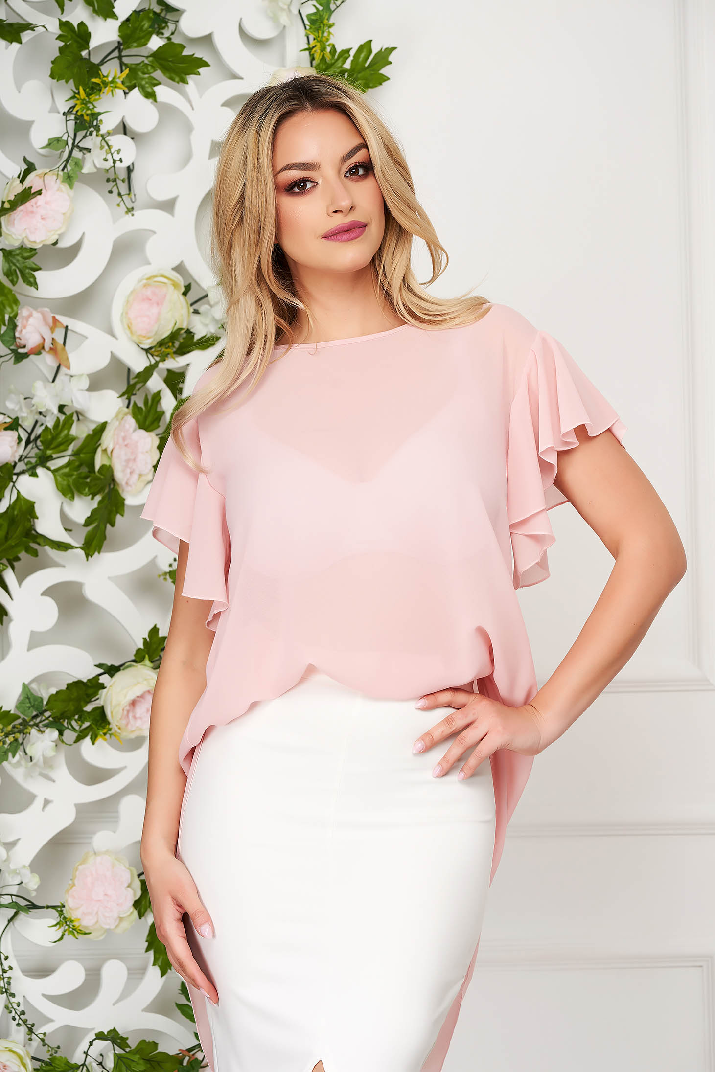 Women`s blouse StarShinerS lightpink elegant from veil fabric flared short sleeve with ruffle details