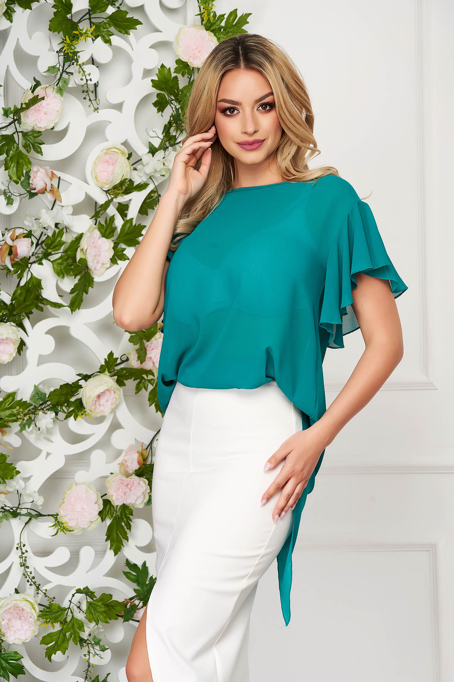 Women`s blouse StarShinerS green elegant from veil fabric flared short sleeve with ruffle details