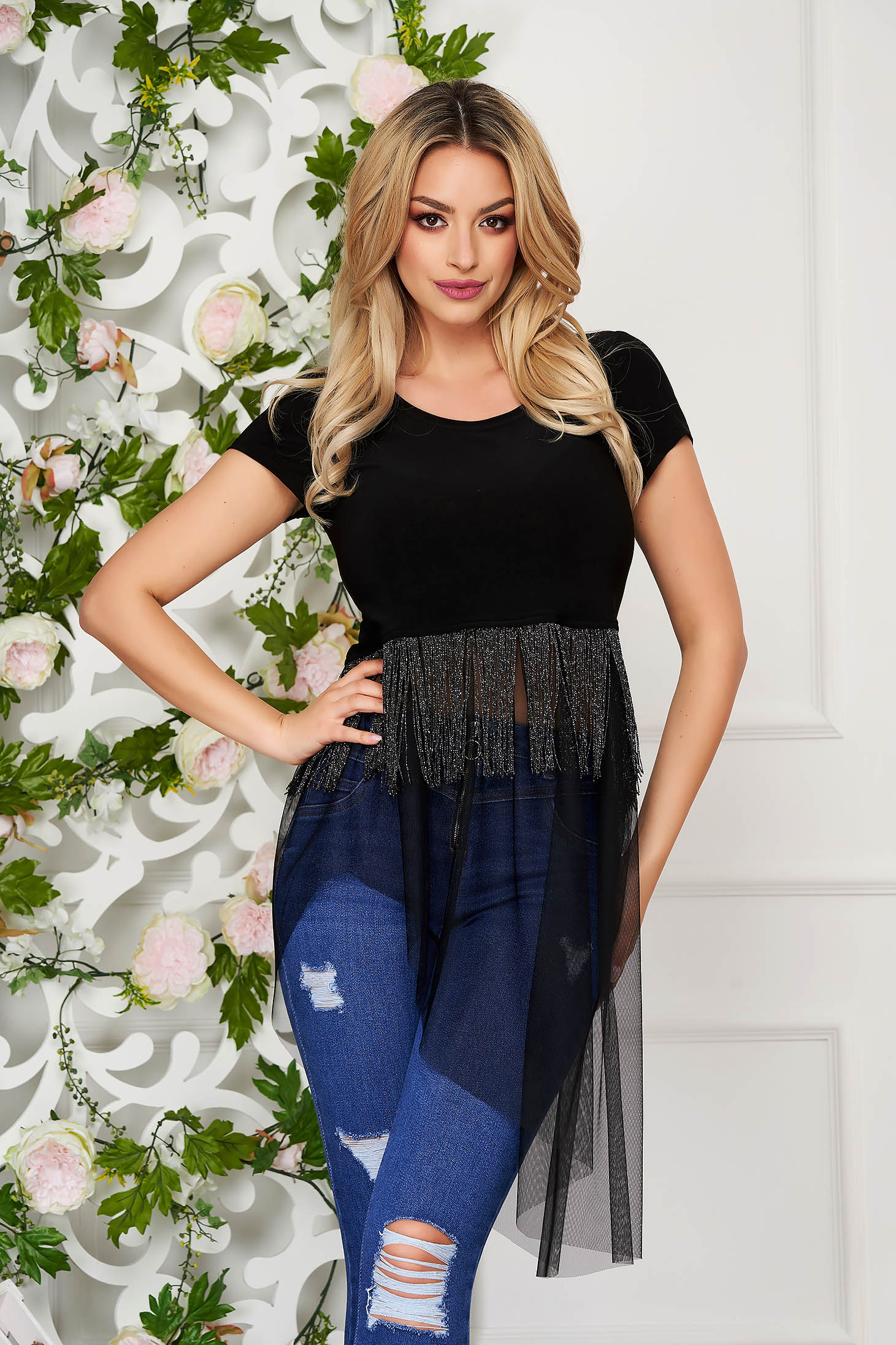StarShinerS black women`s blouse casual long asymmetrical jersey with fringes