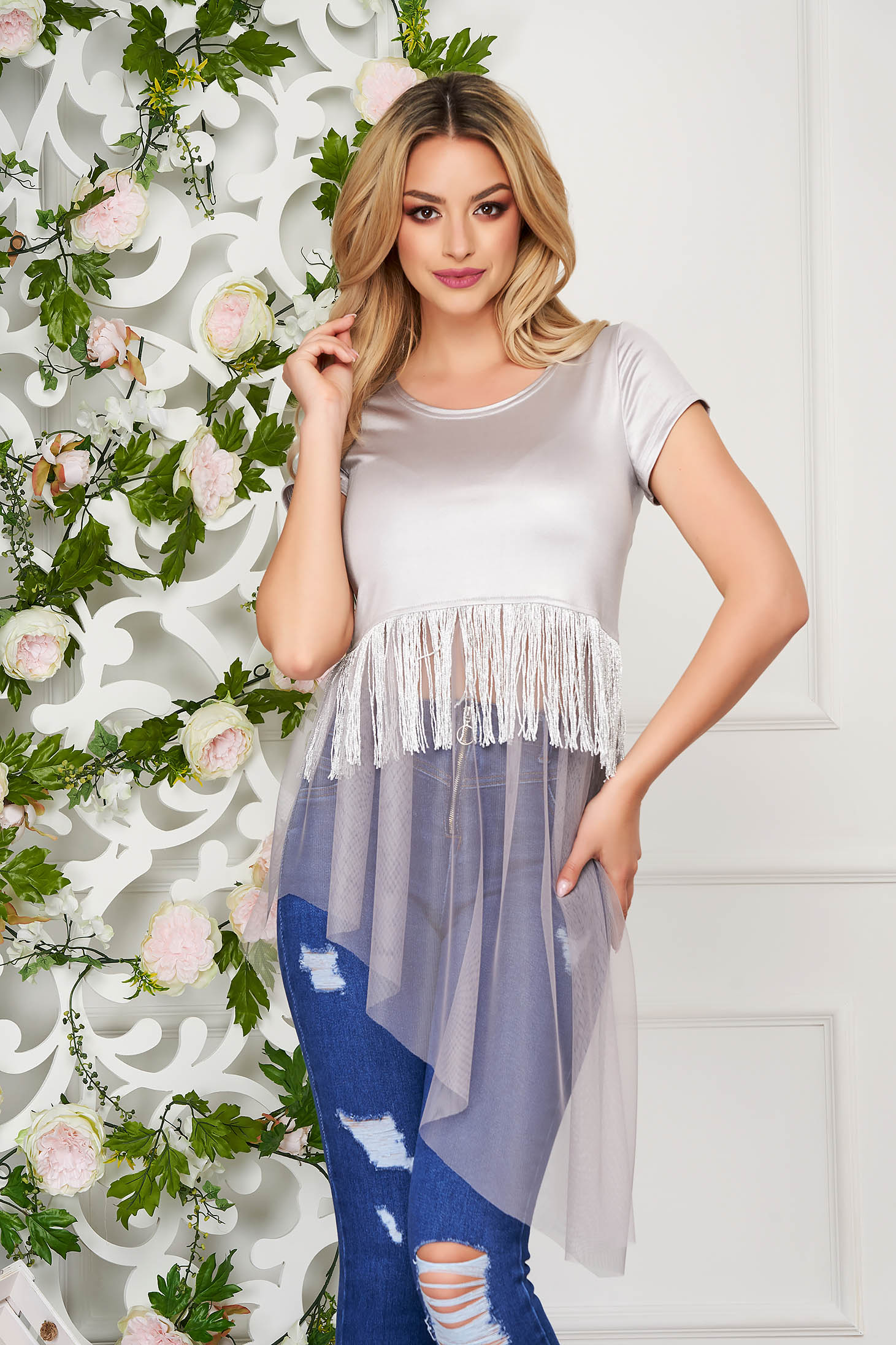 StarShinerS grey women`s blouse casual long asymmetrical jersey with fringes