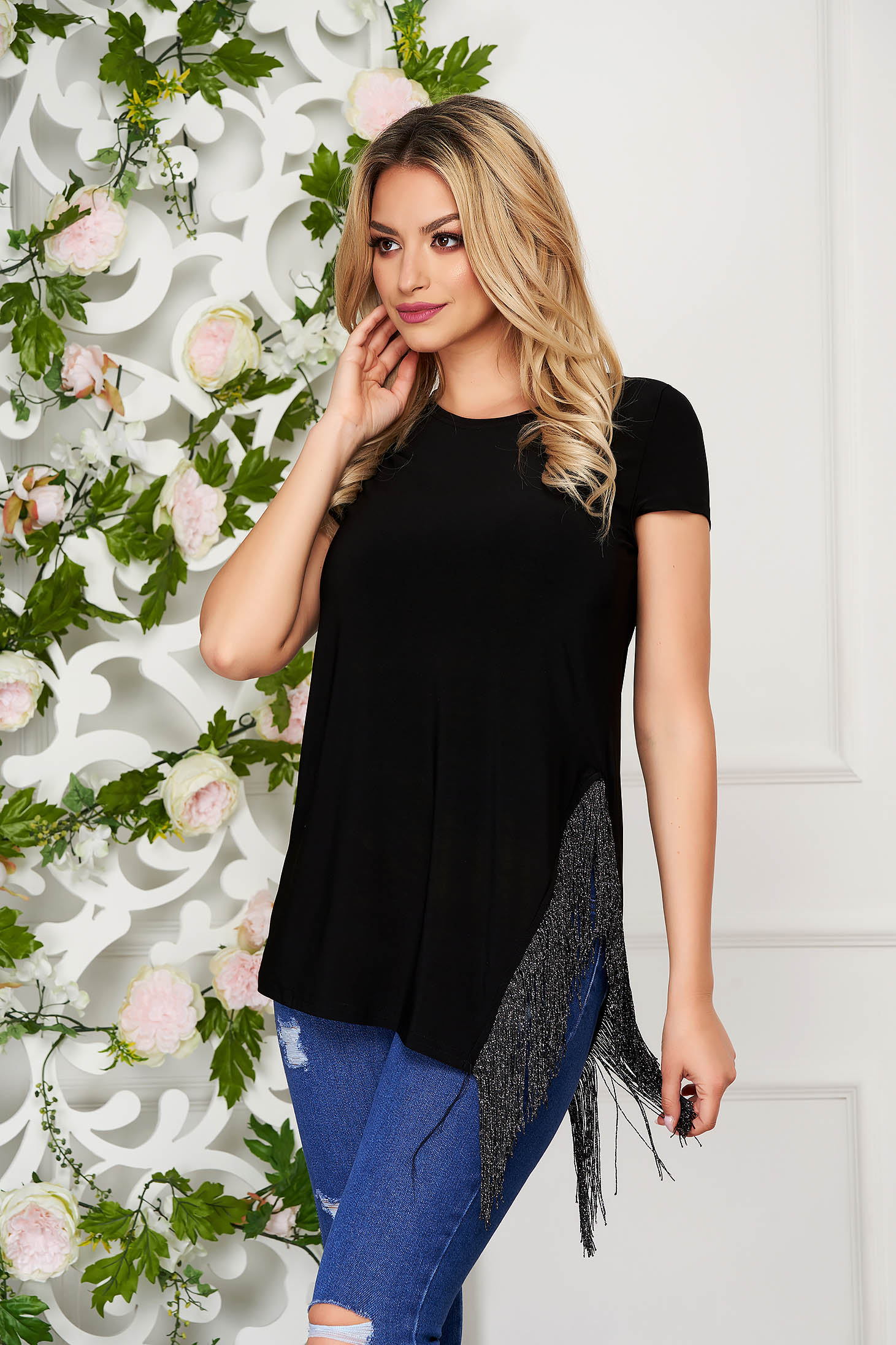 StarShinerS black women`s blouse casual long flared jersey with fringes