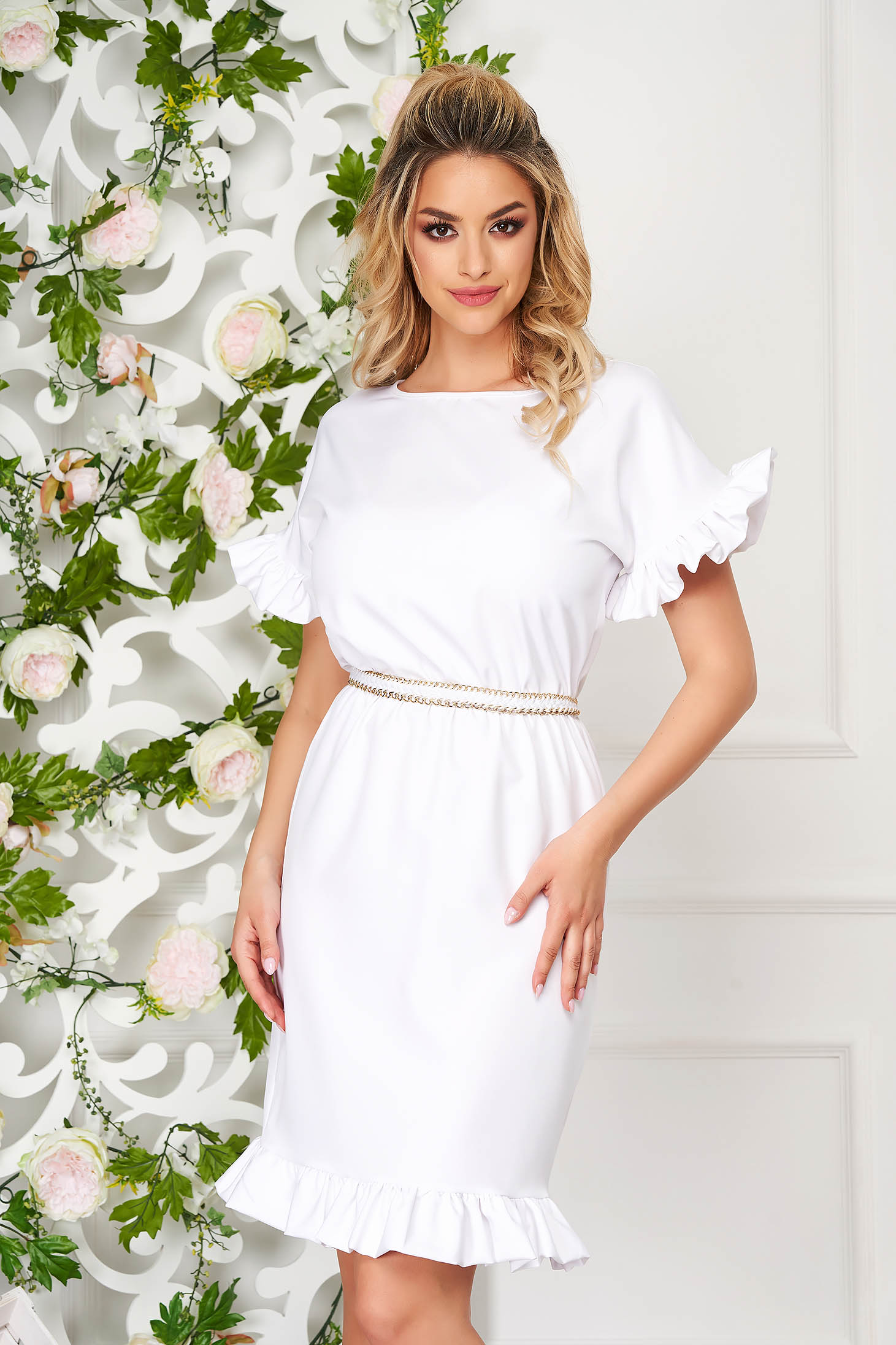 Dress StarShinerS white elegant short cut daily pencil cloth from elastic fabric with ruffled sleeves