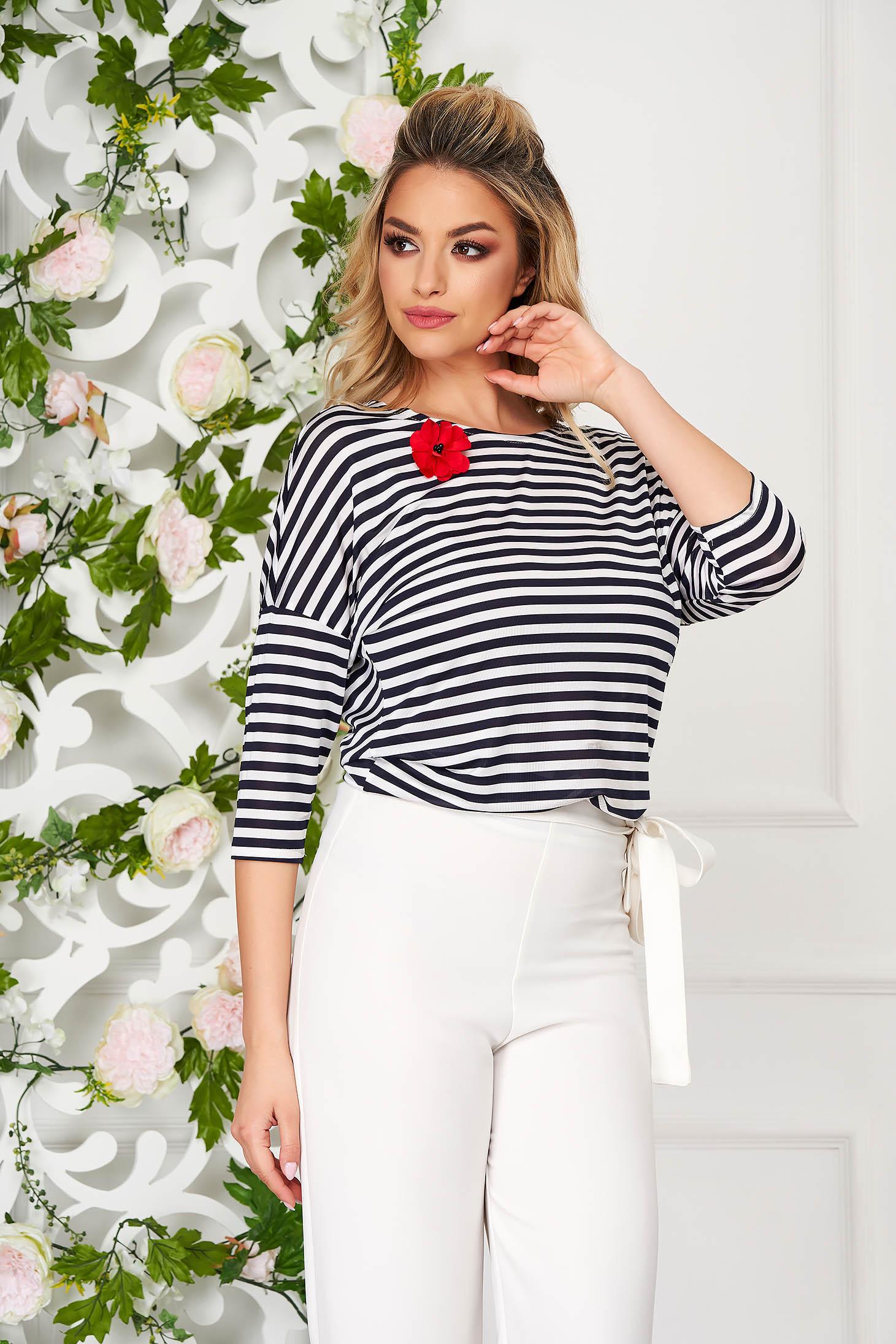 StarShinerS darkblue women`s blouse elegant flared lycra with 3/4 sleeves