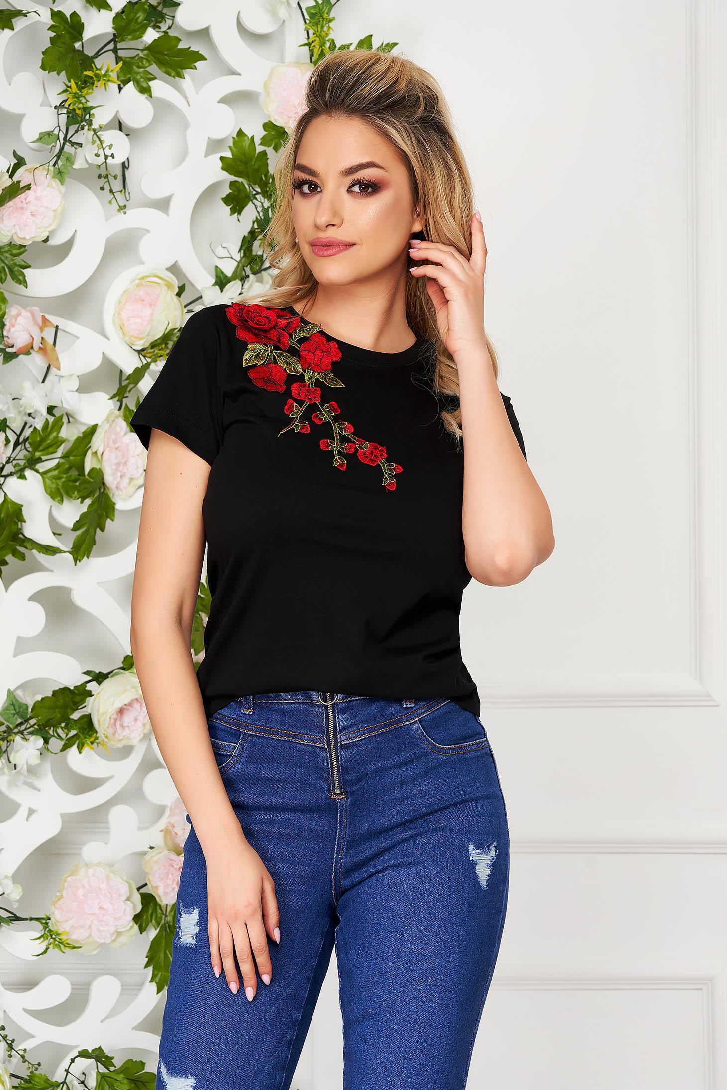 StarShinerS black t-shirt casual flared short sleeves