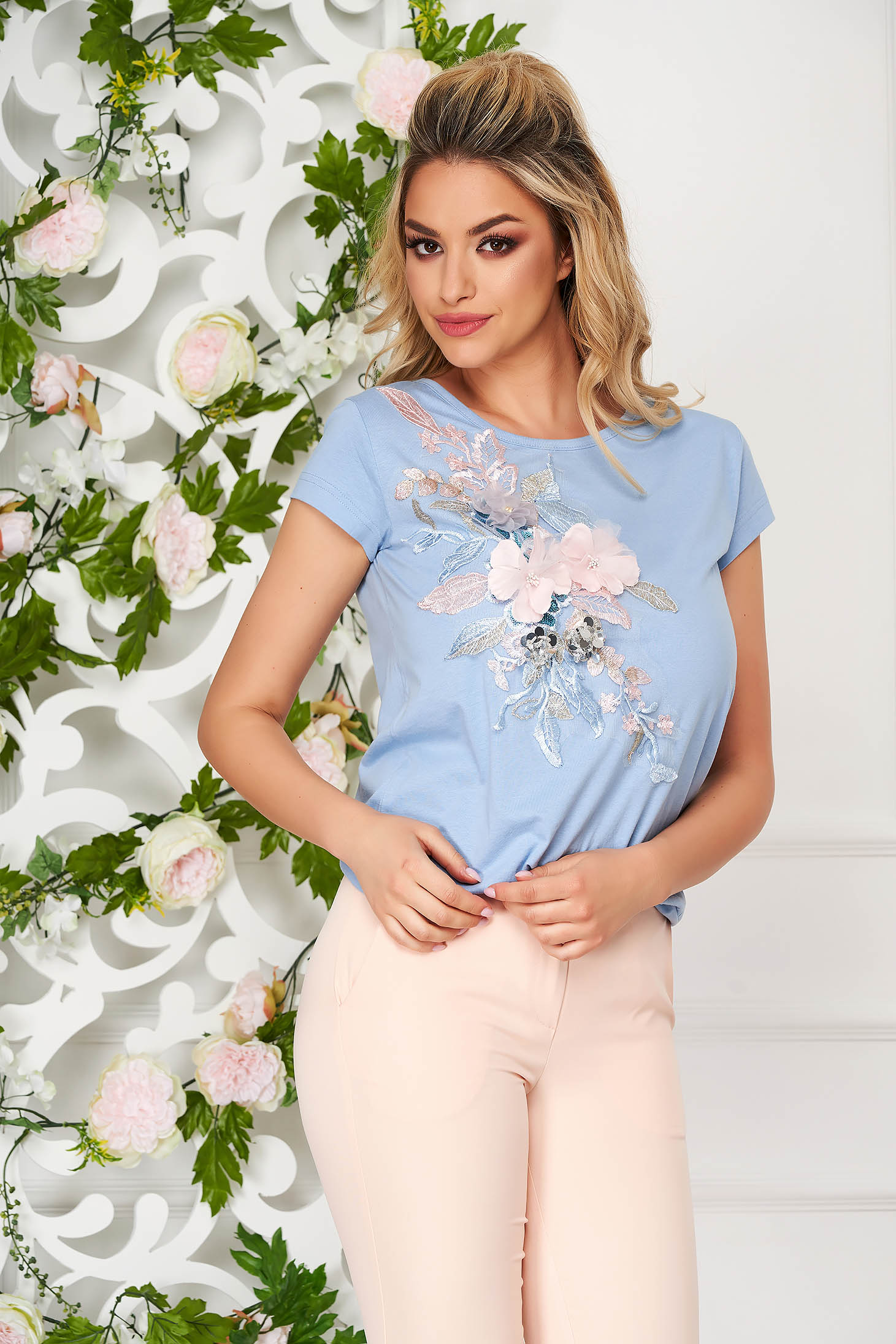 StarShinerS lightblue t-shirt casual flared with 3d effect