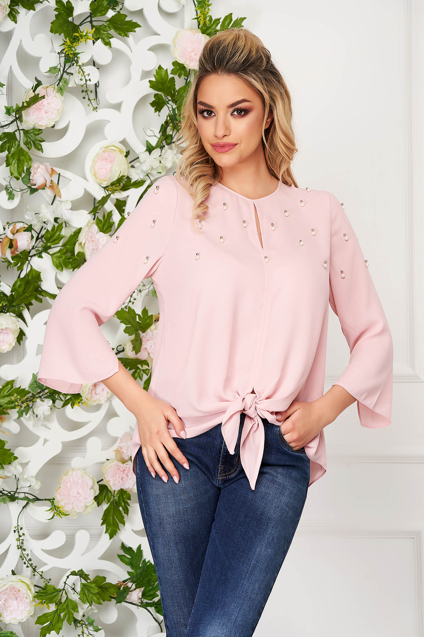 Lightpink women`s blouse casual flared with pearls with bell sleeve