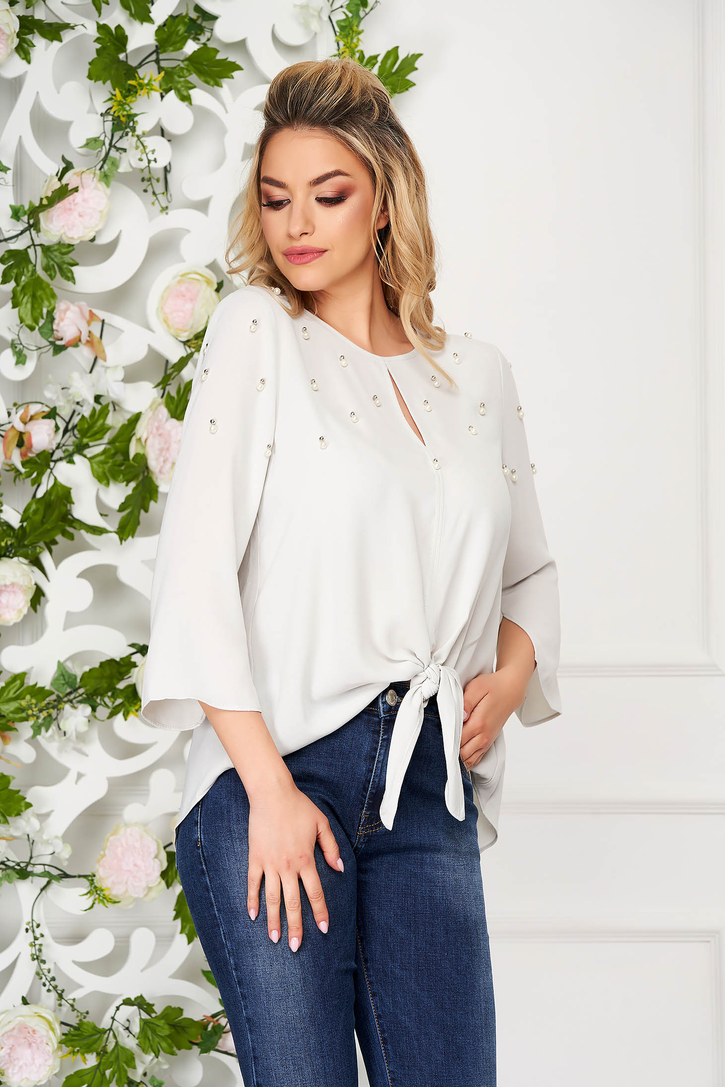 Grey women`s blouse casual flared with pearls with bell sleeve