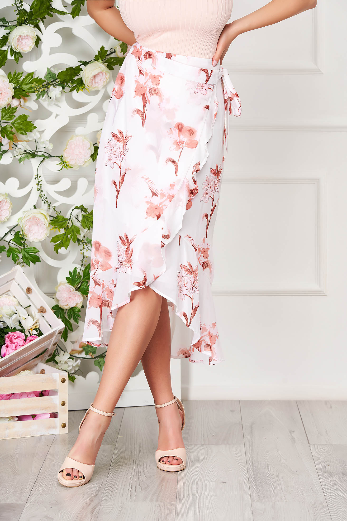 White skirt casual midi asymmetrical from veil fabric wrap over skirt with floral print