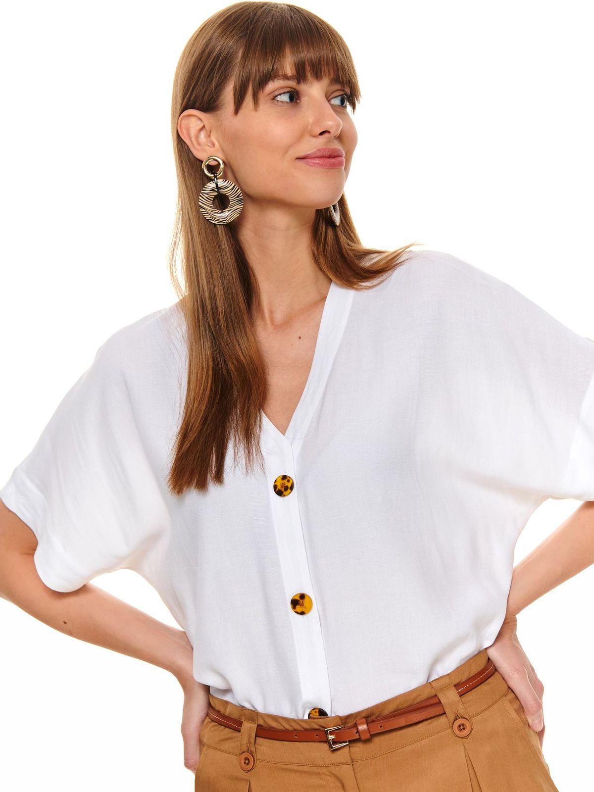 Bluza dama Top Secret alba casual cu croi larg si decolteu in v
