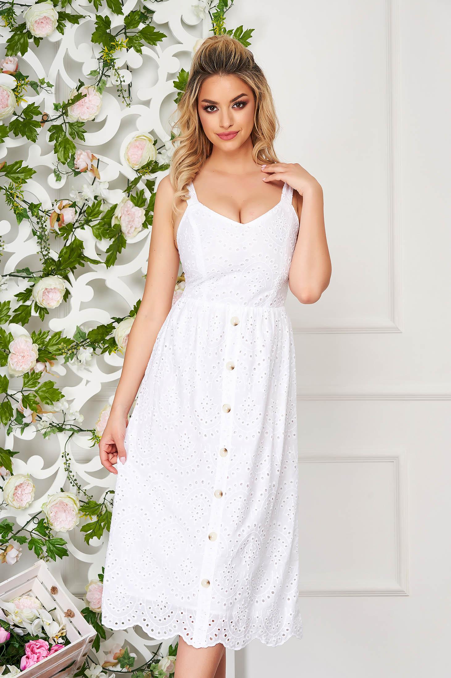 Fehér hétköznapi midi harang ruha perforált anyag pántos fazon