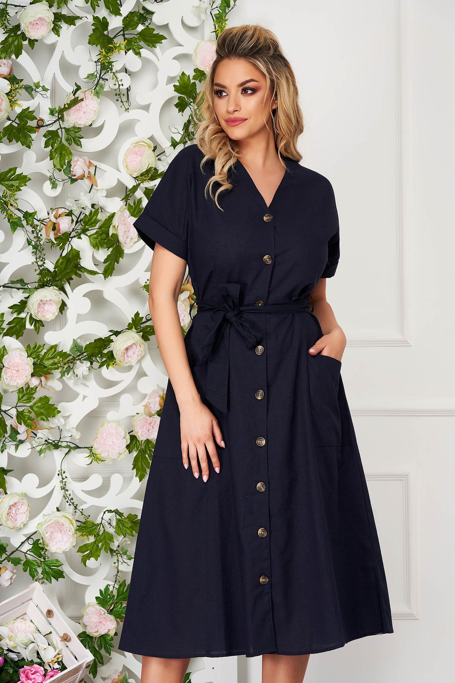 Dress darkblue midi daily cloche with pockets accessorized with tied waistband