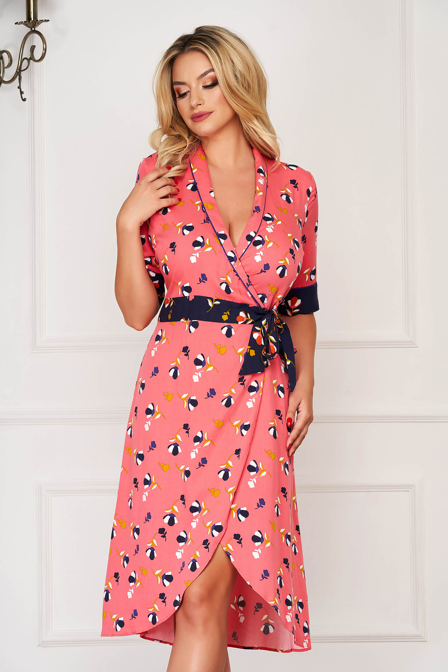 Dress pink midi daily wrap over skirt cloche with v-neckline with floral print