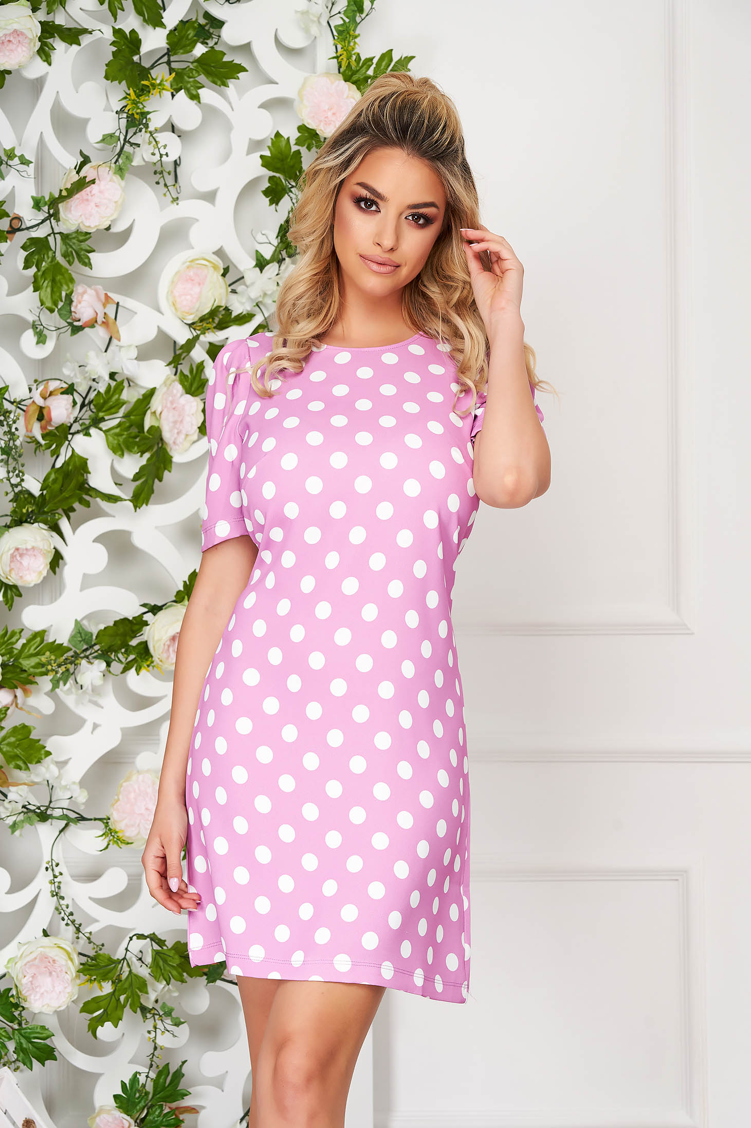 Lightpink dress daily short cut a-line thin fabric high shoulders dots print