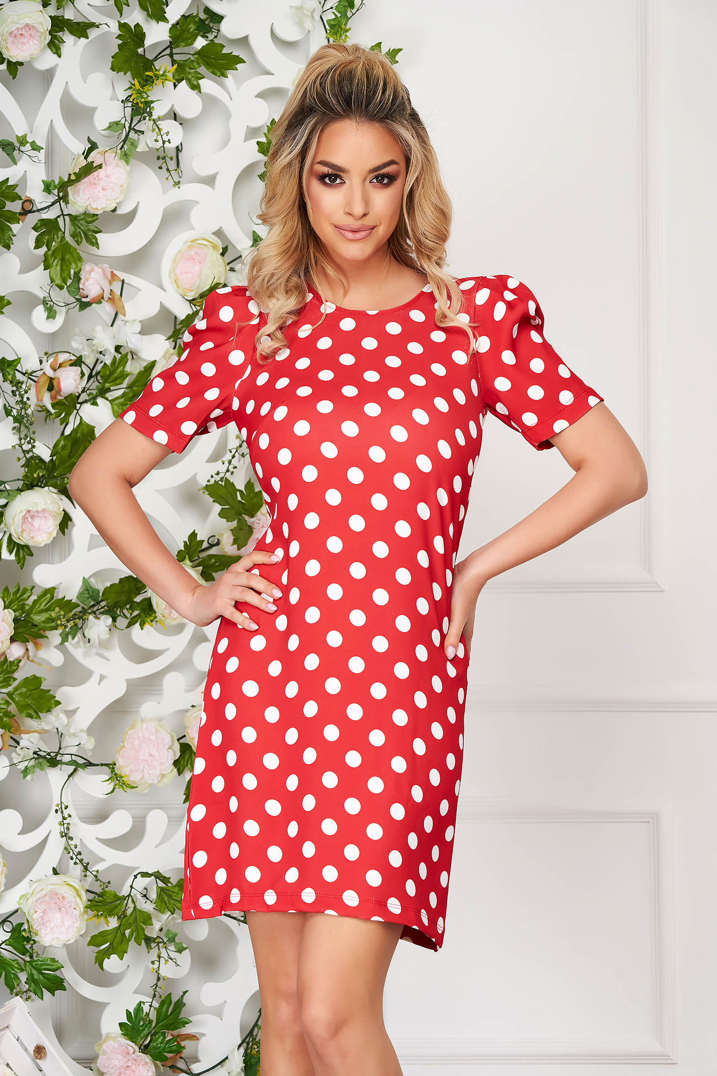 Red dress daily short cut a-line thin fabric high shoulders dots print