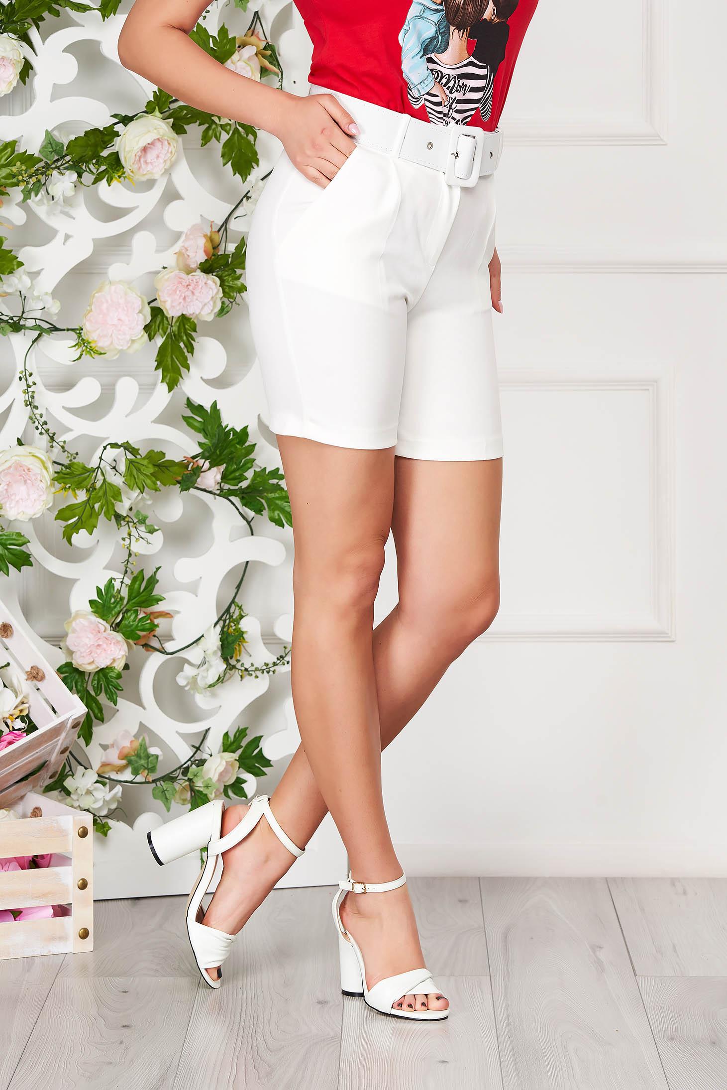 Pantalon scurt SunShine alb elegant mulat din material subtire cu talie inalta