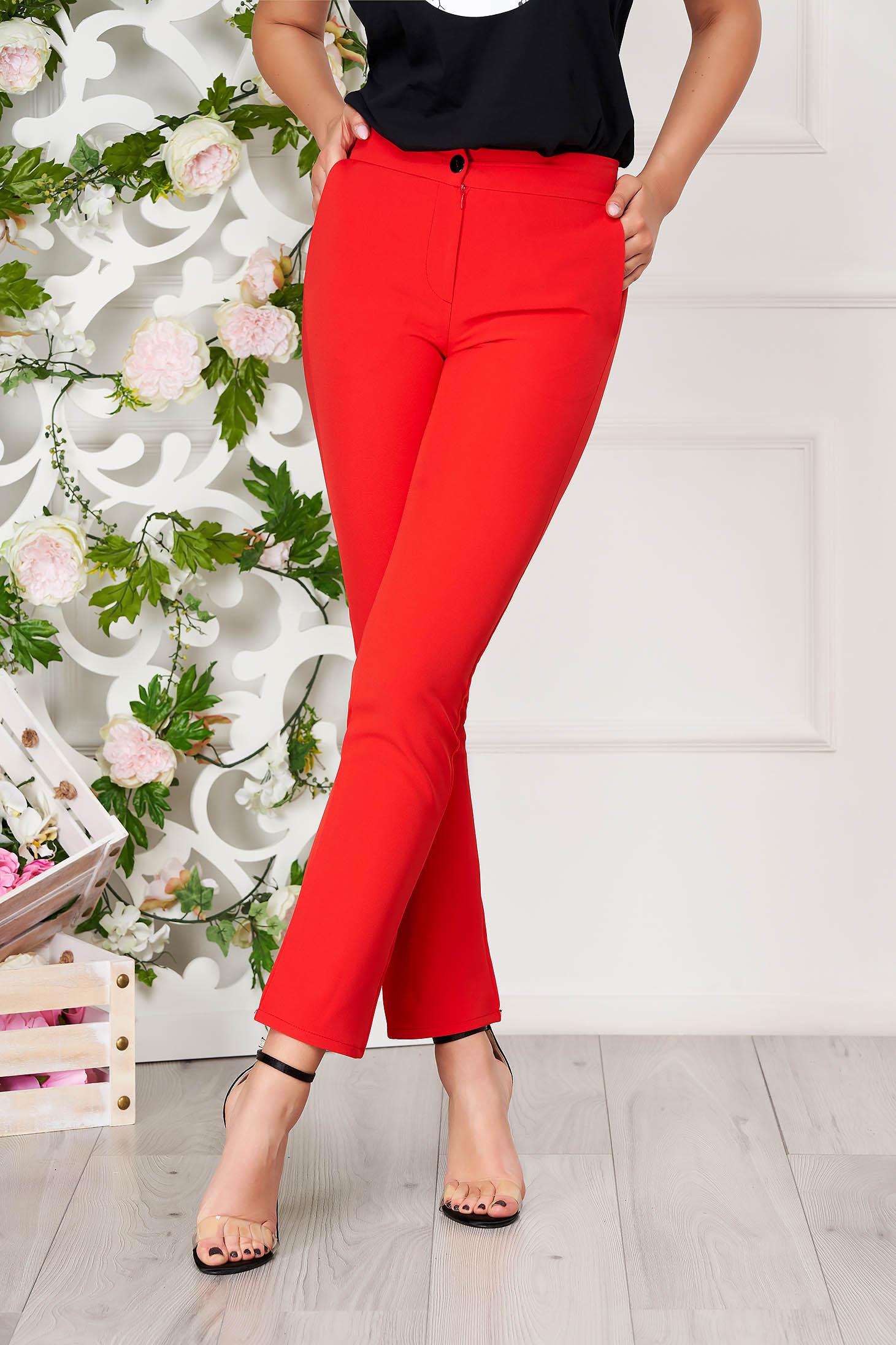 Pantaloni SunShine rosii office din stofa cu un croi drept cu buzunare