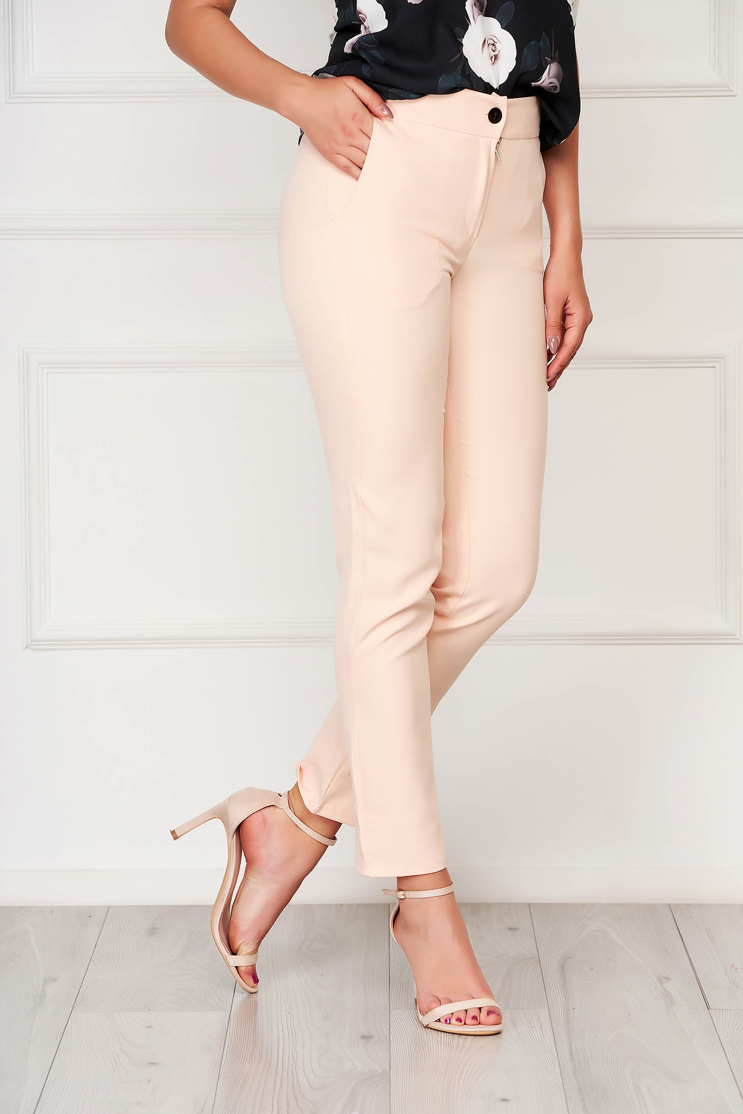 Trousers lightpink office cloth straight with pockets